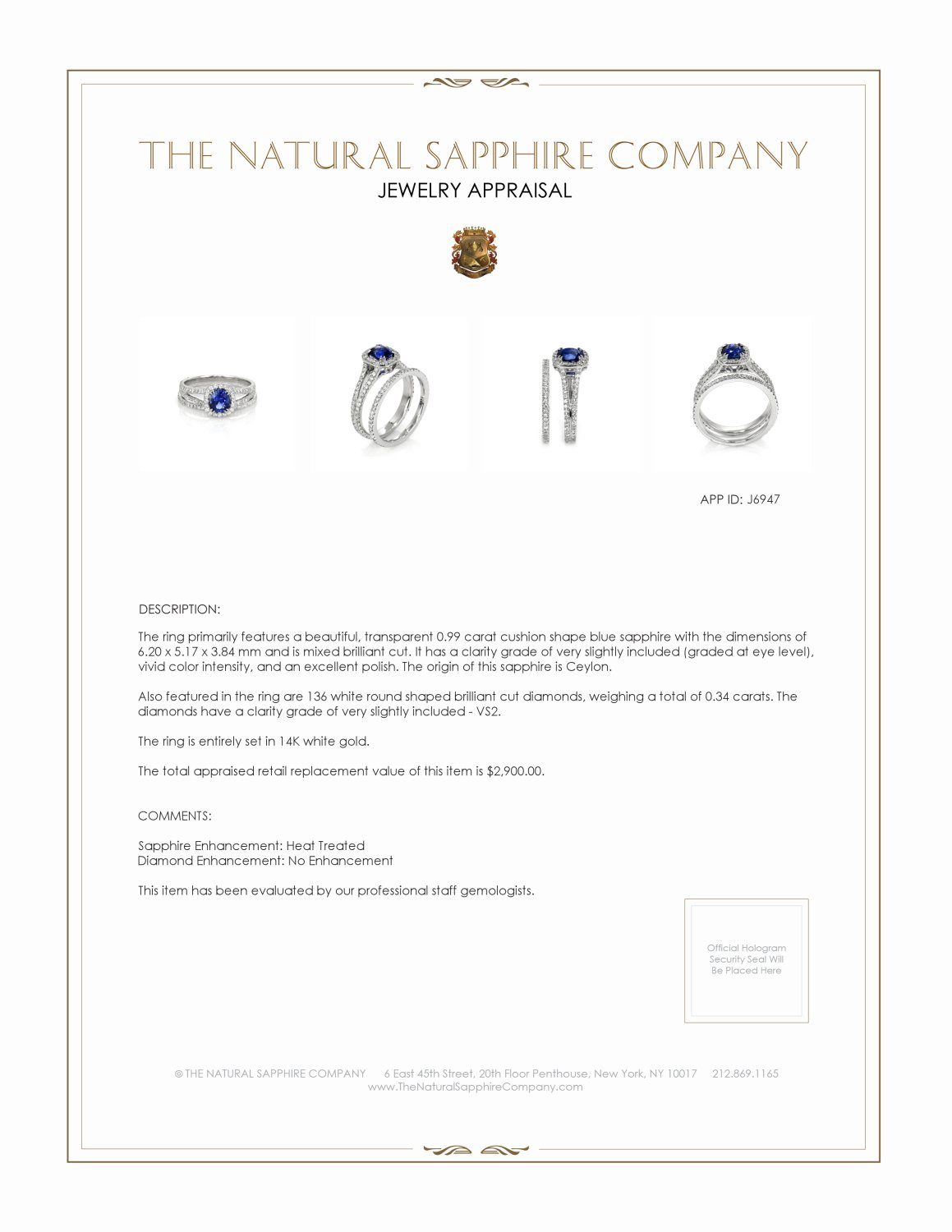 0.99ct Blue Sapphire Ring Certification 2