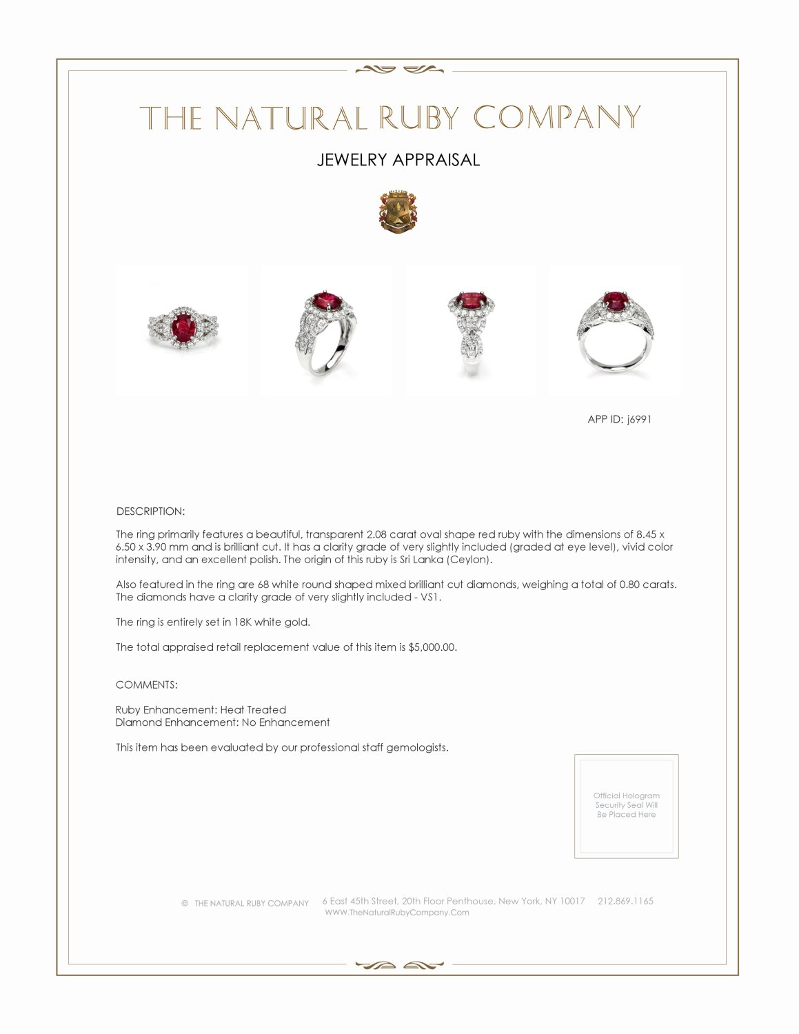 2.08ct Ruby Ring Certification 2