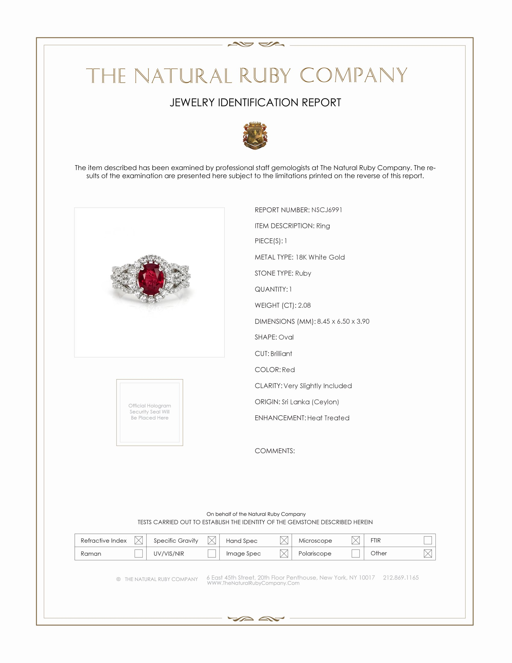 2.08ct Ruby Ring Certification