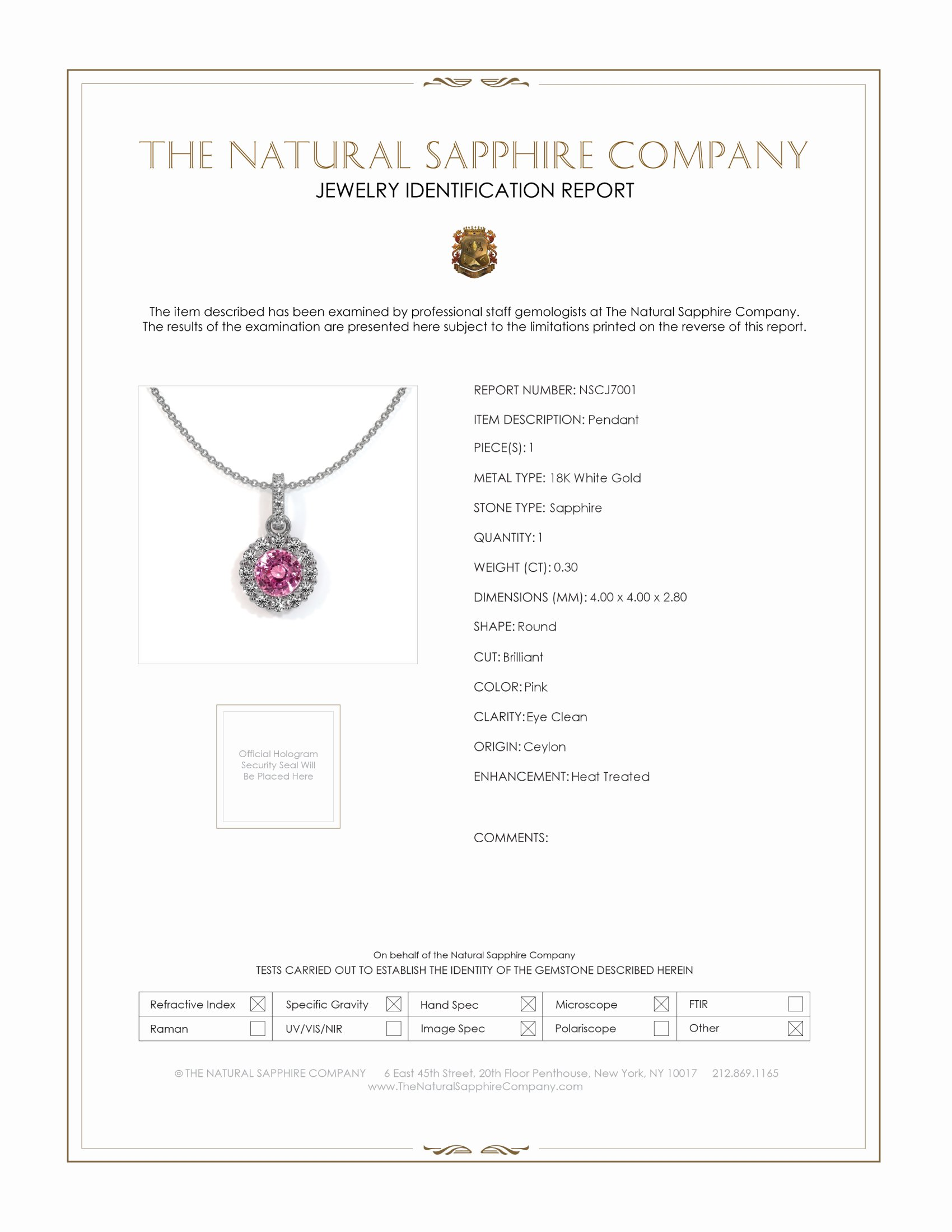 0.40ct Pink Sapphire Pendant Certification