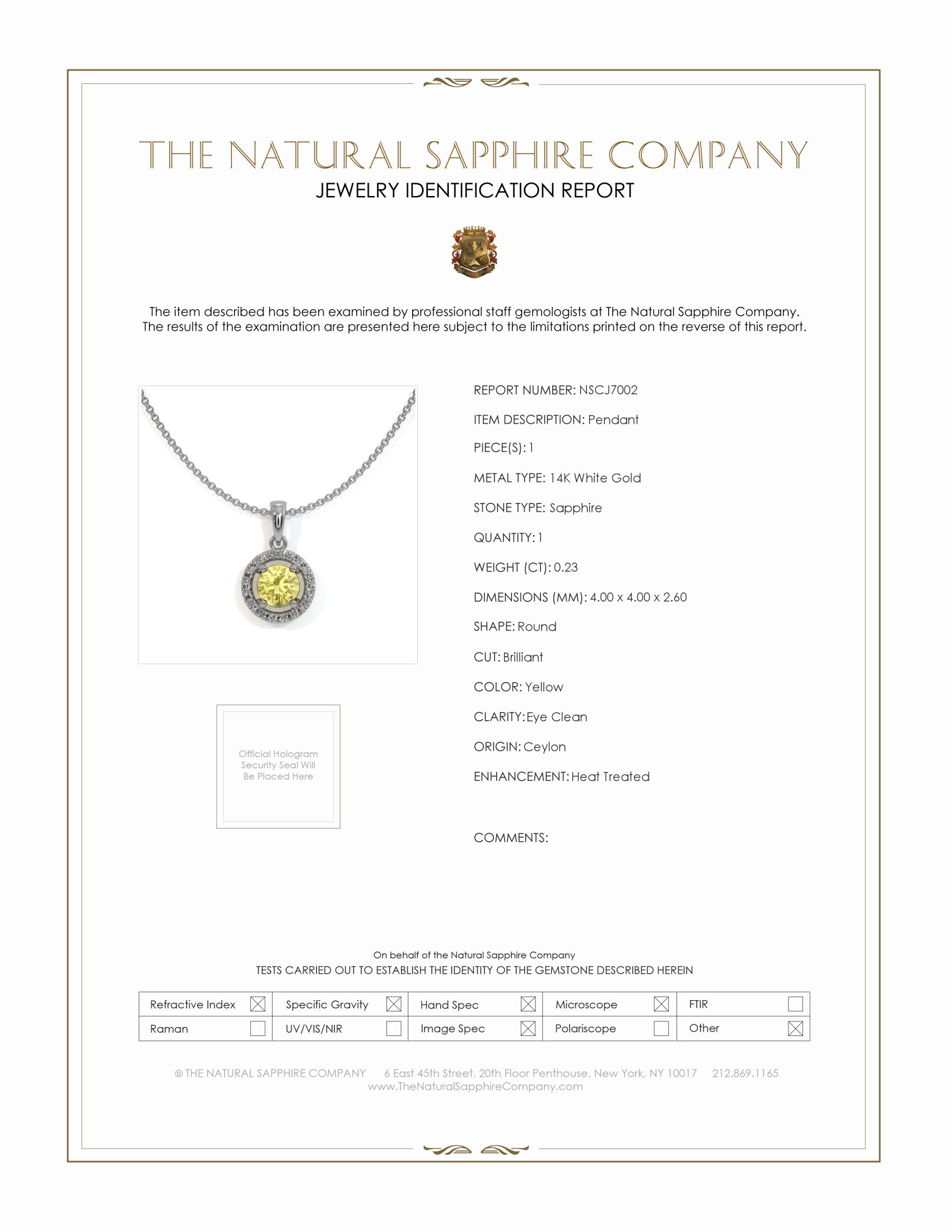 0.23ct Yellow Sapphire Pendant Certification