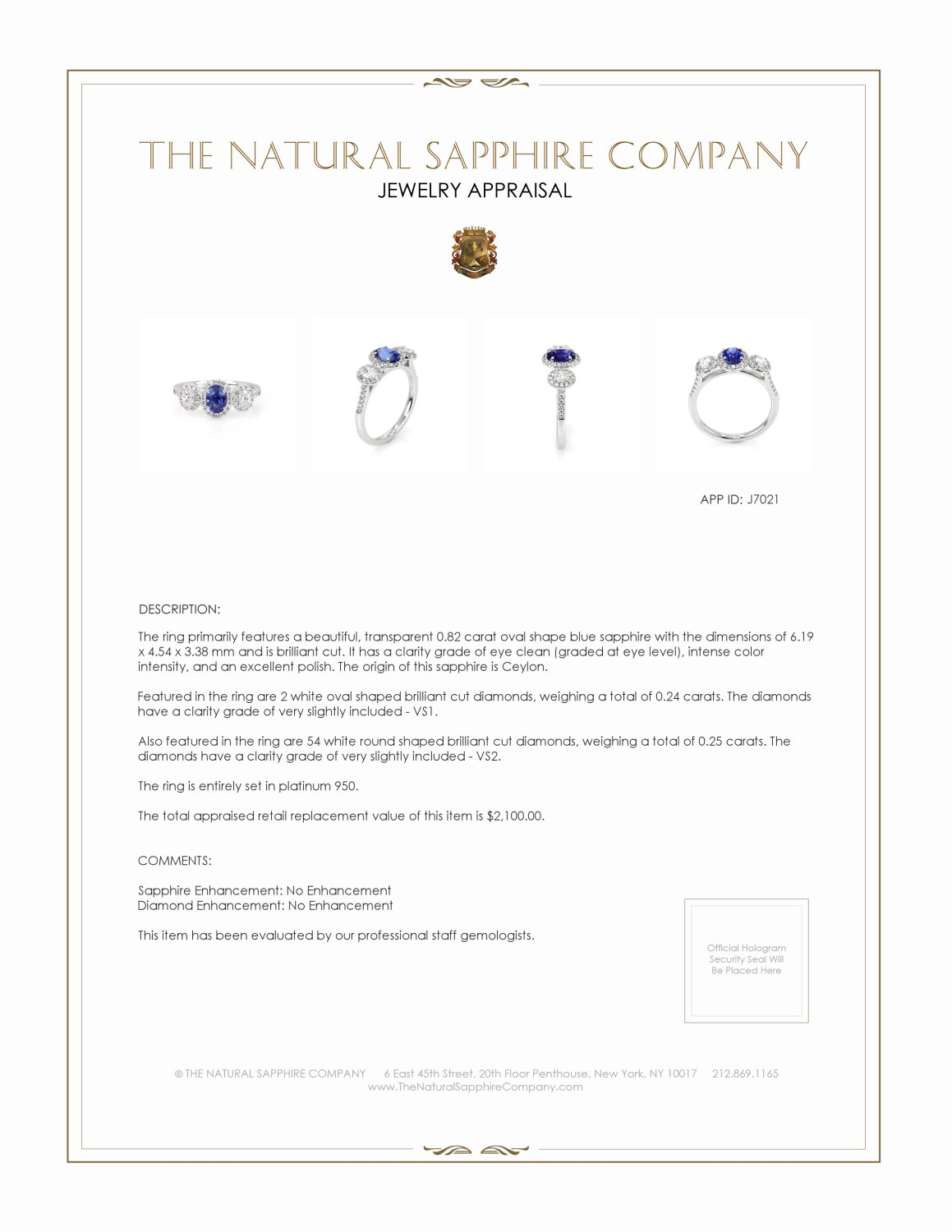 0.82ct Blue Sapphire Ring Certification 2