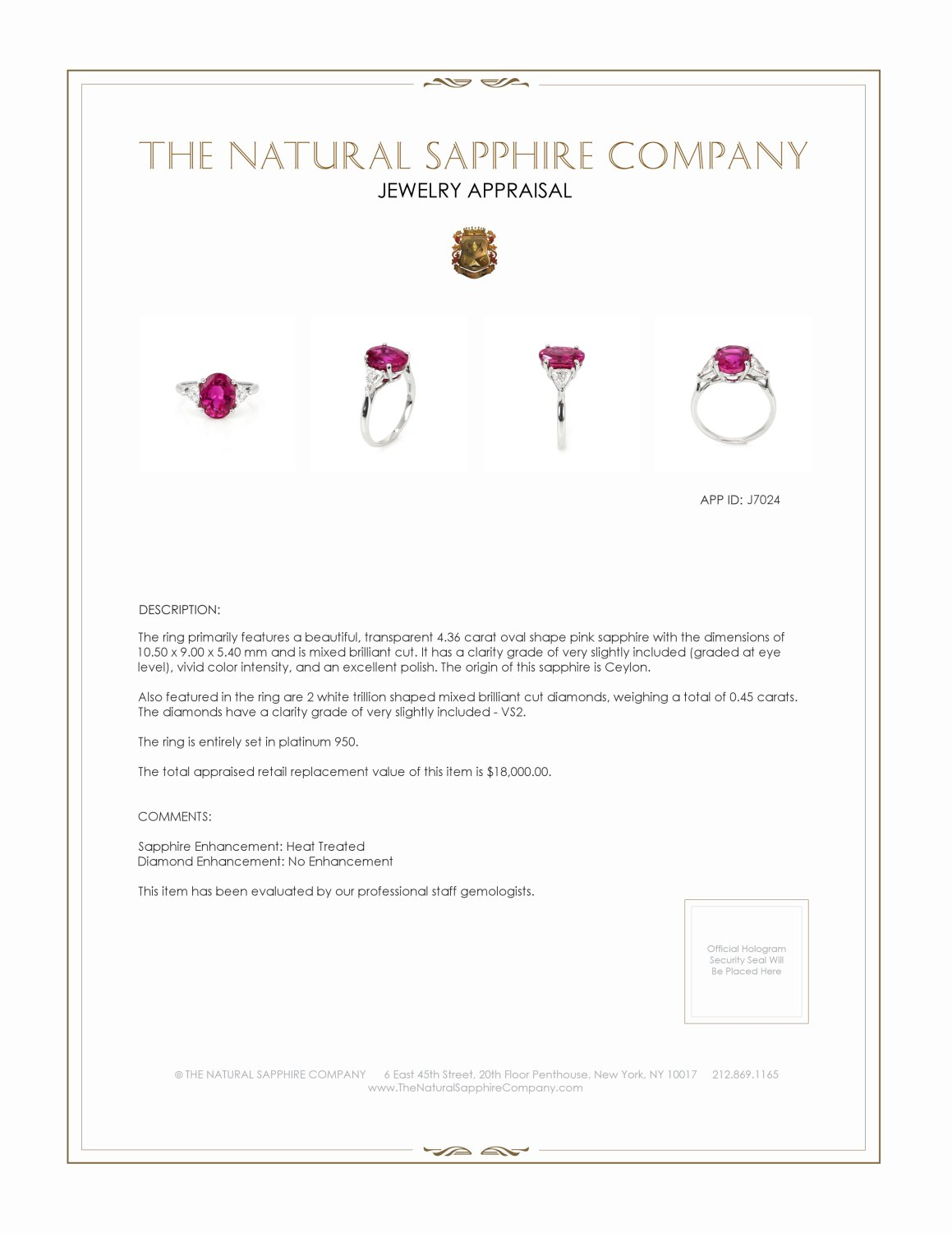 4.36ct Pink Sapphire Ring Certification 2