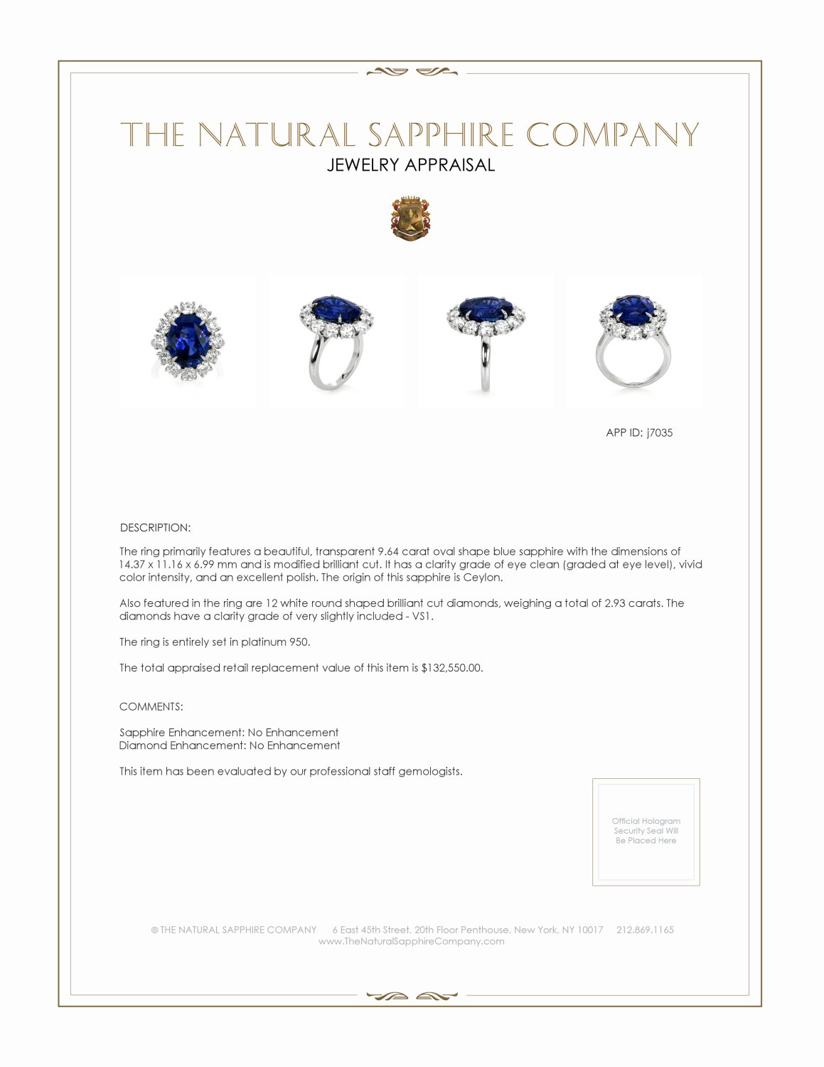 9.64ct Blue Sapphire Ring Certification