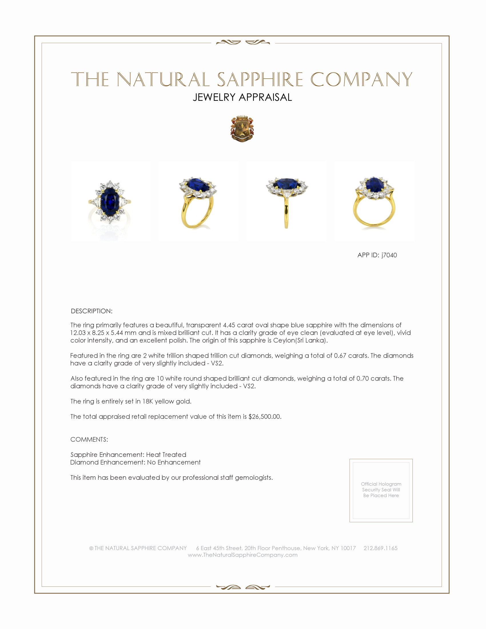 7.65ct Blue Sapphire Ring Certification 3