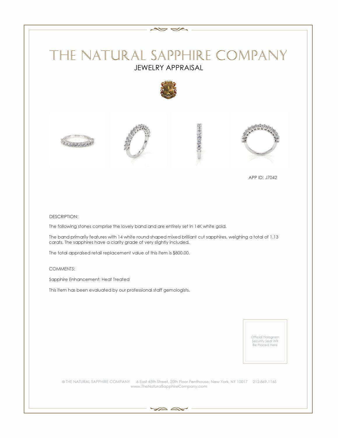 1.13ct White Sapphire Band Certification 2