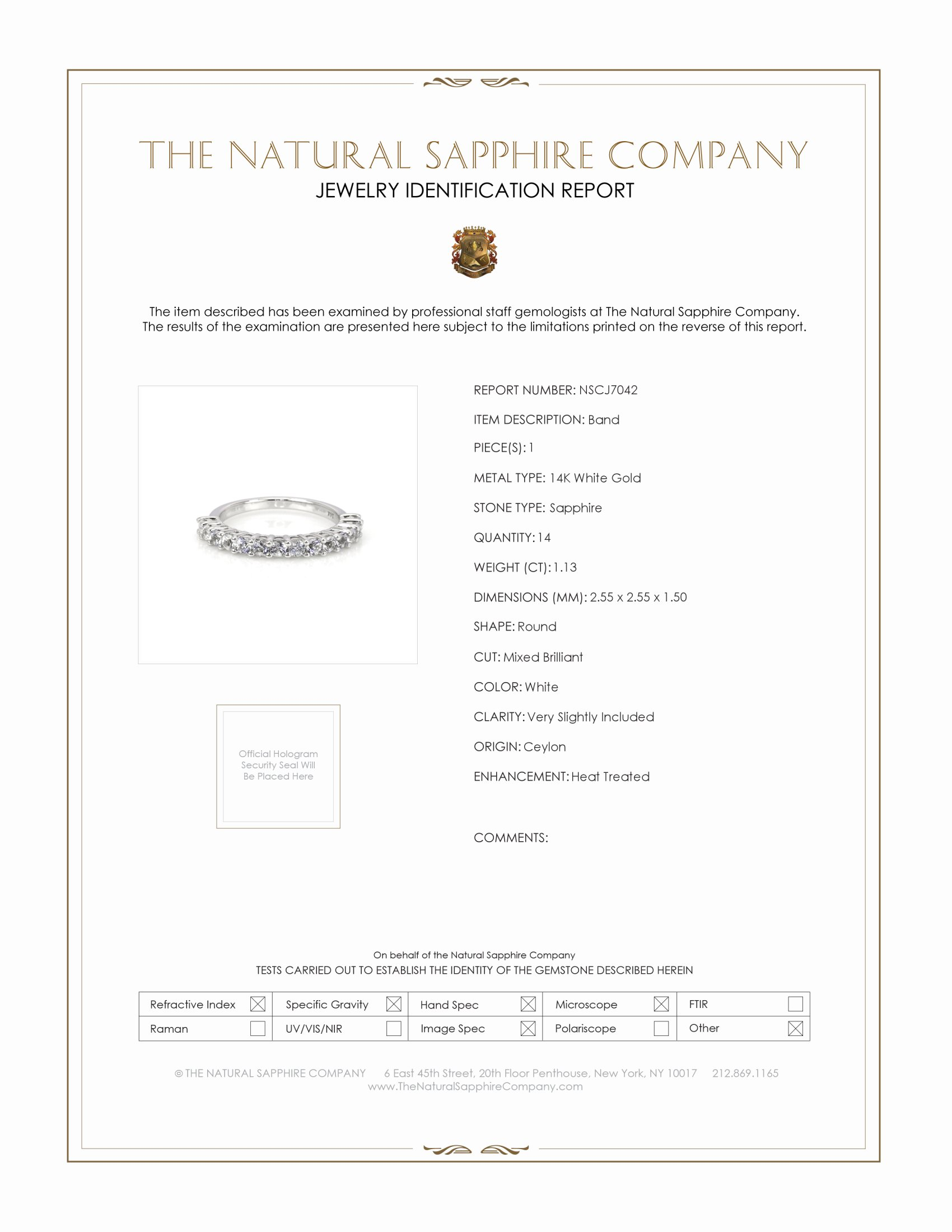 1.13ct White Sapphire Band Certification