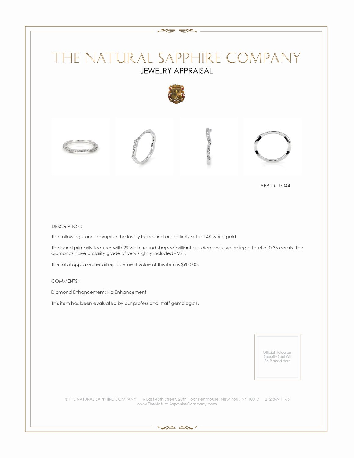 0.35ct White Diamond Band Certification 2
