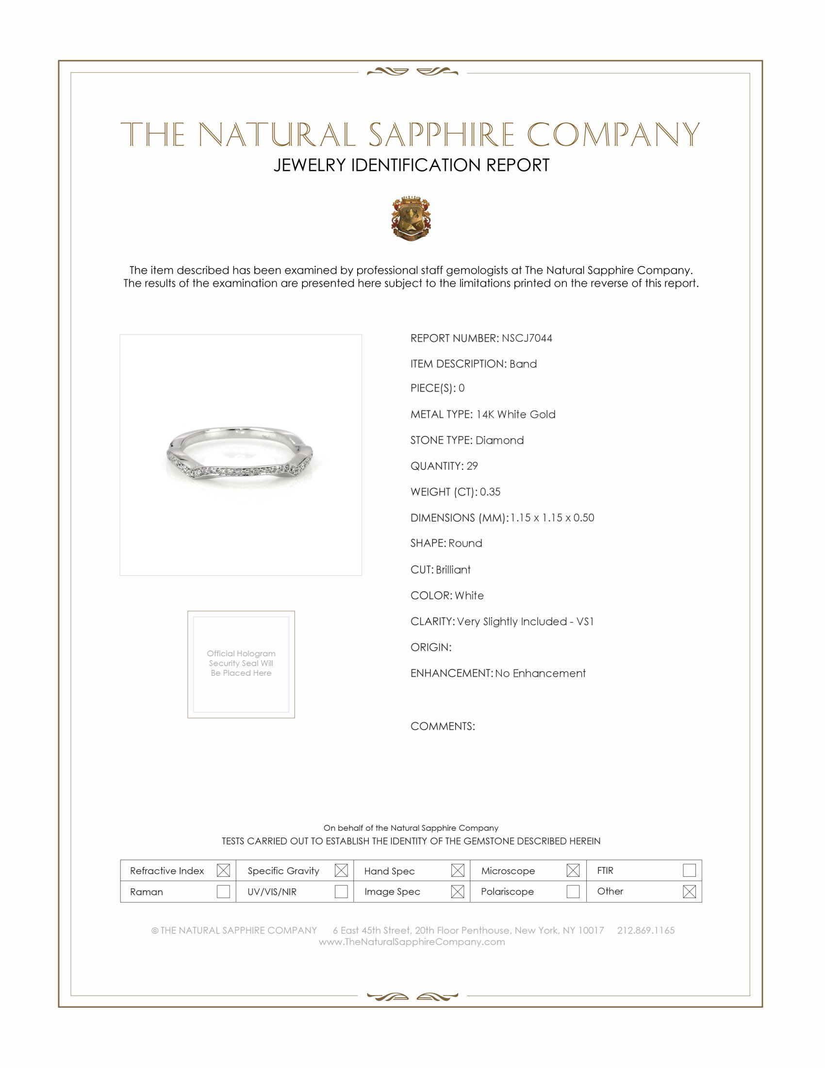 0.35ct White Diamond Band Certification