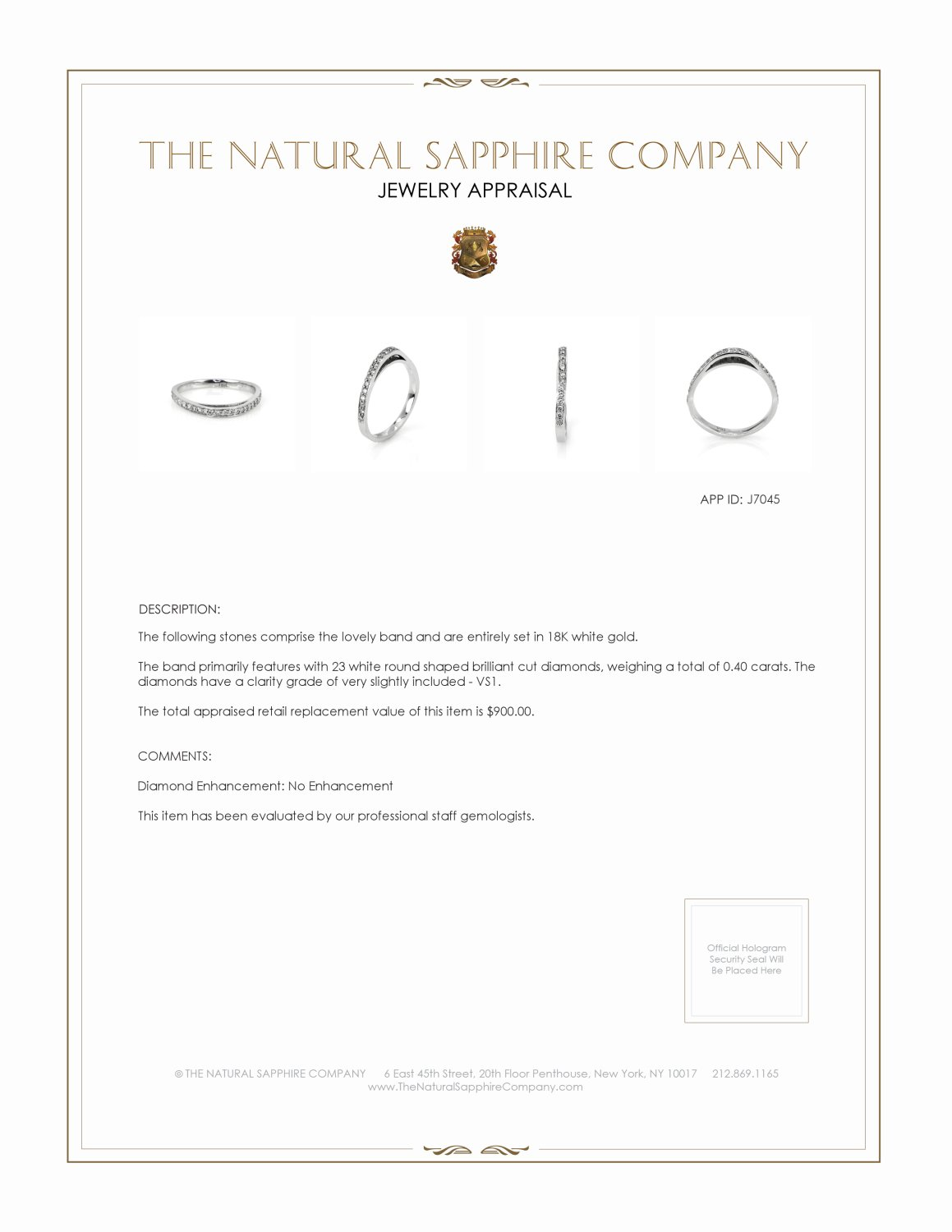 0.40ct White Diamond Band Certification 2