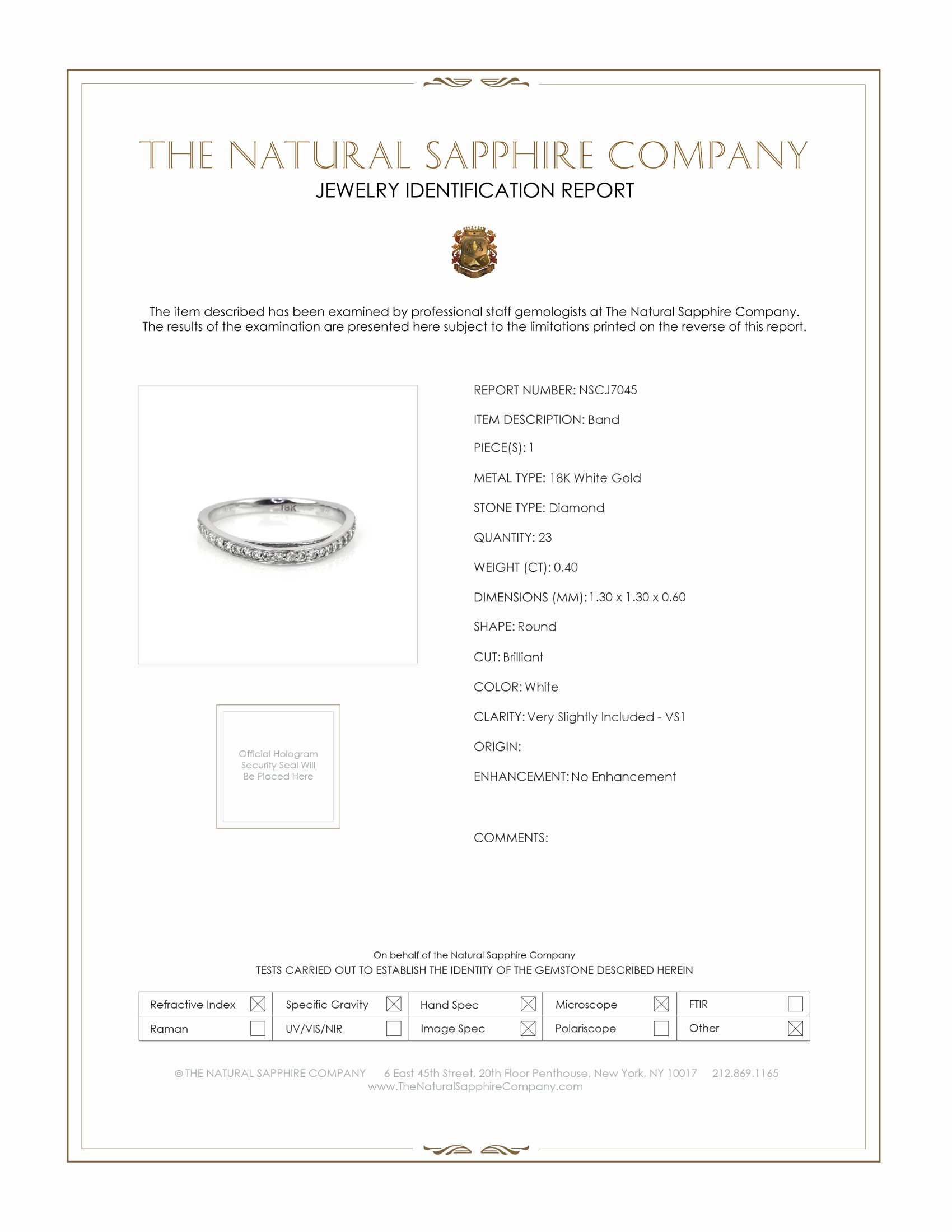 0.40ct White Diamond Band Certification