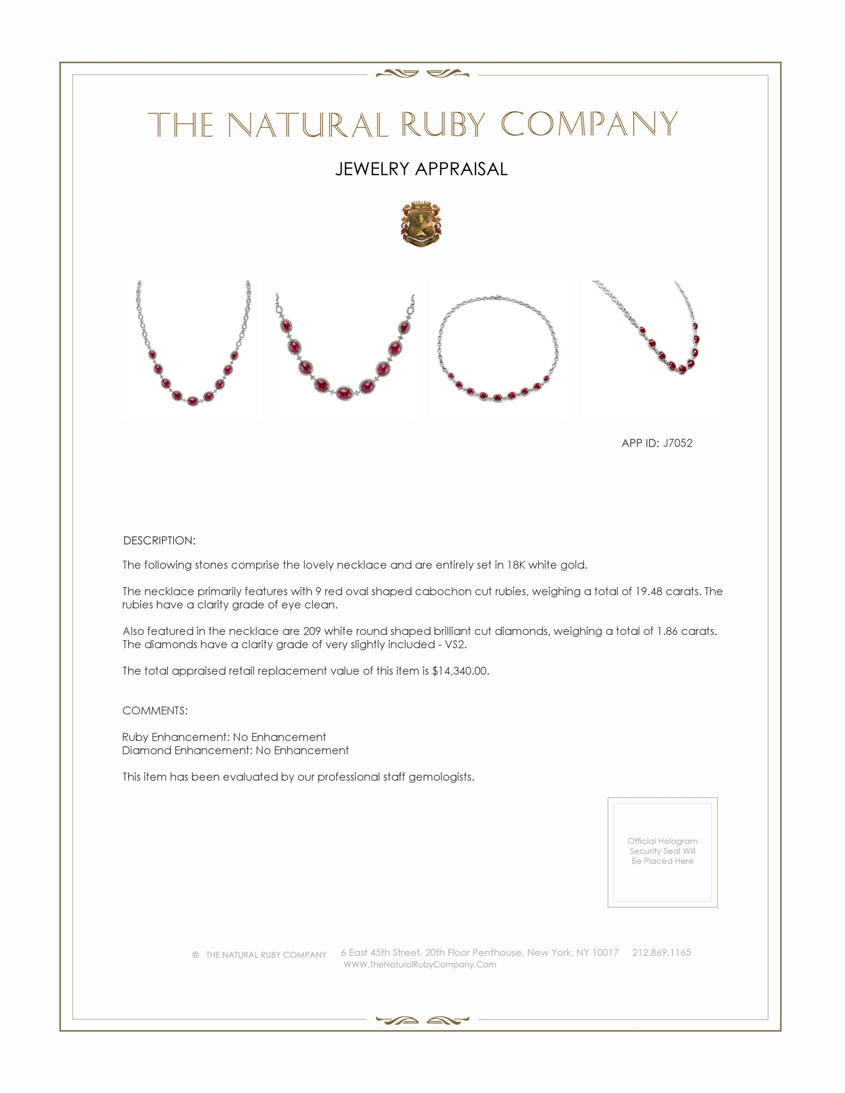 19.48ct Ruby Necklace Certification 2