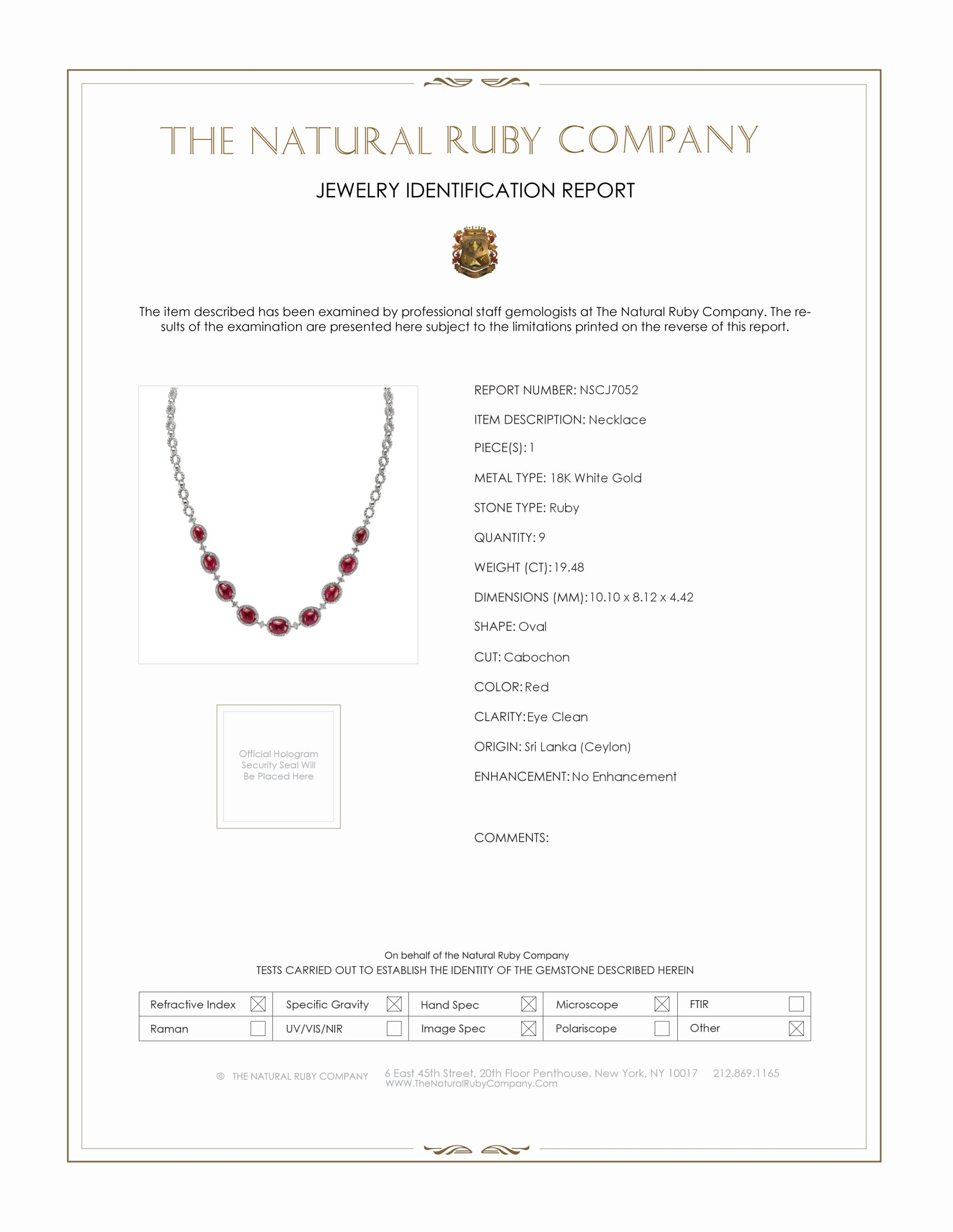 19.48ct Ruby Necklace Certification