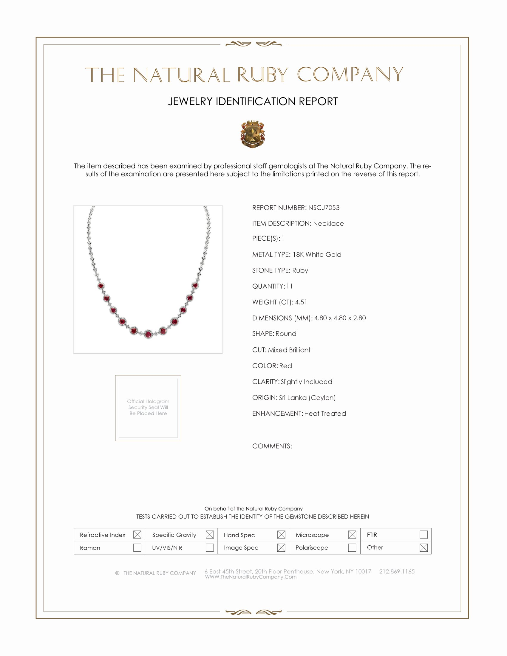 4.51ct Ruby Necklace Certification