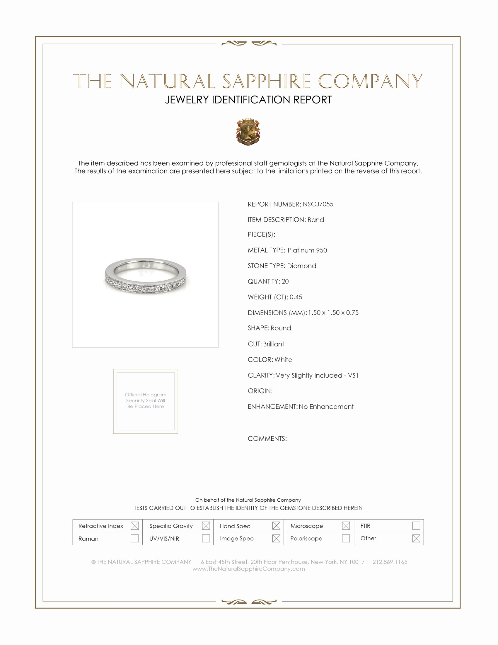 0.45ct White Diamond Band Certification