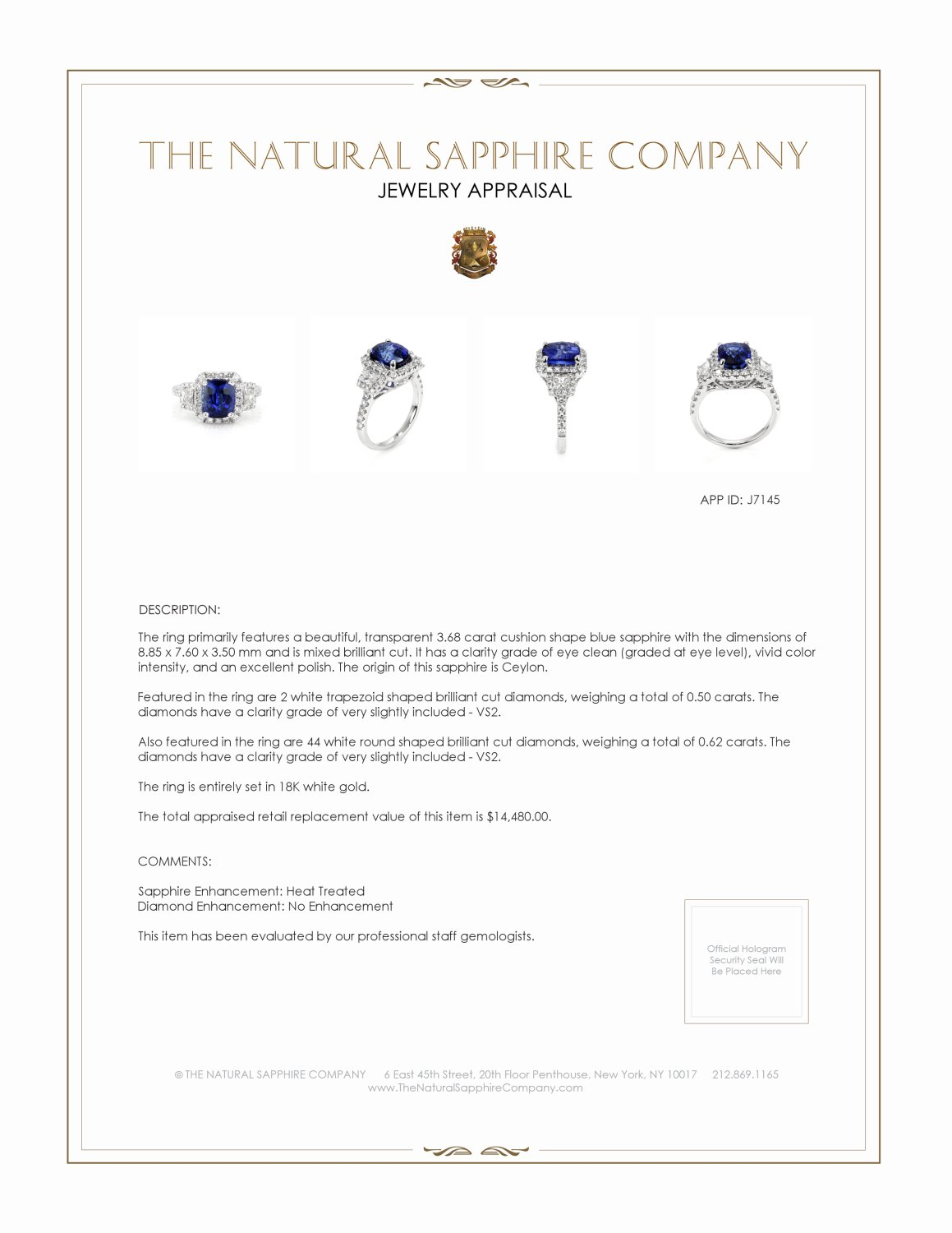 3.68ct Blue Sapphire Ring Certification