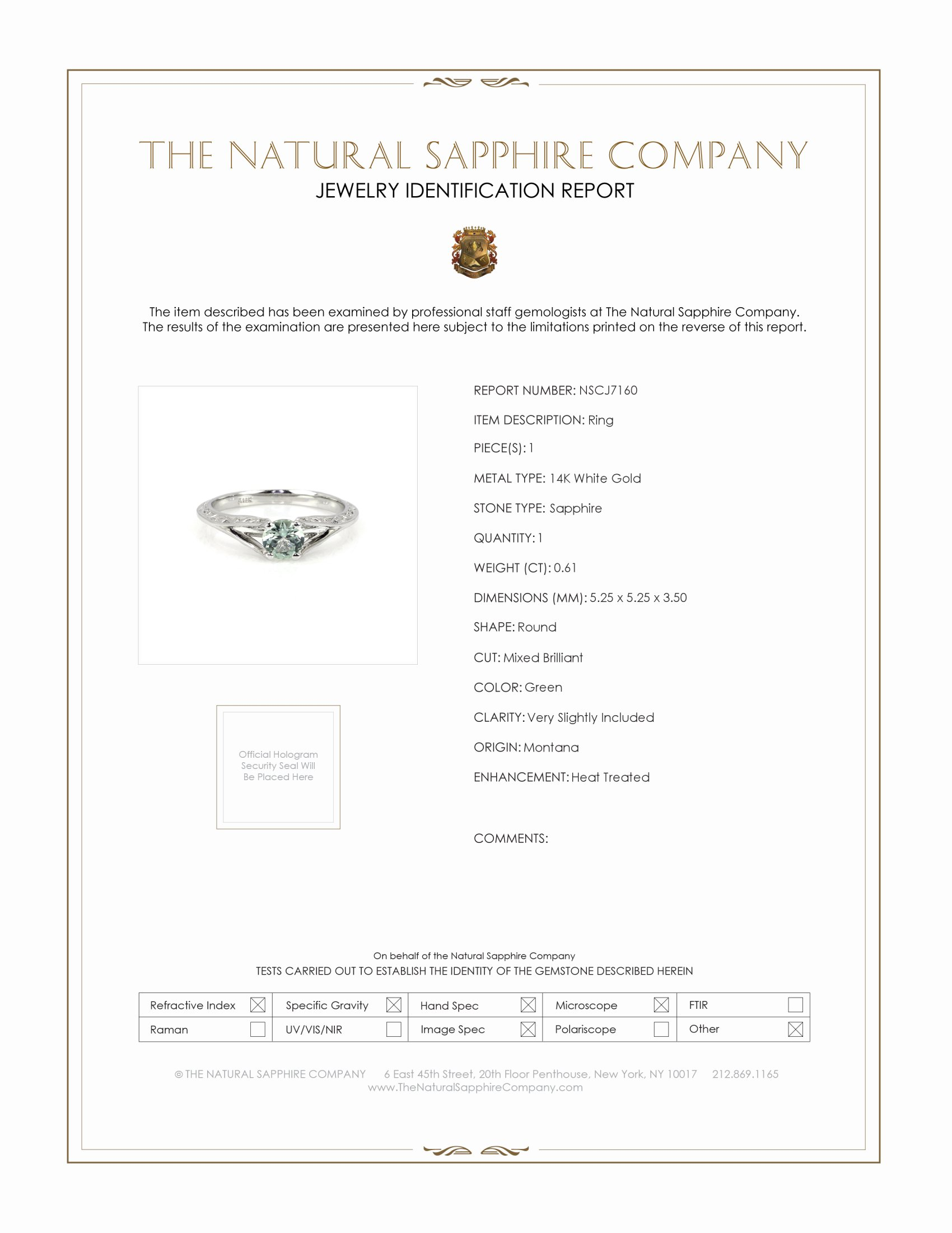 0.61ct Green Sapphire Ring Certification