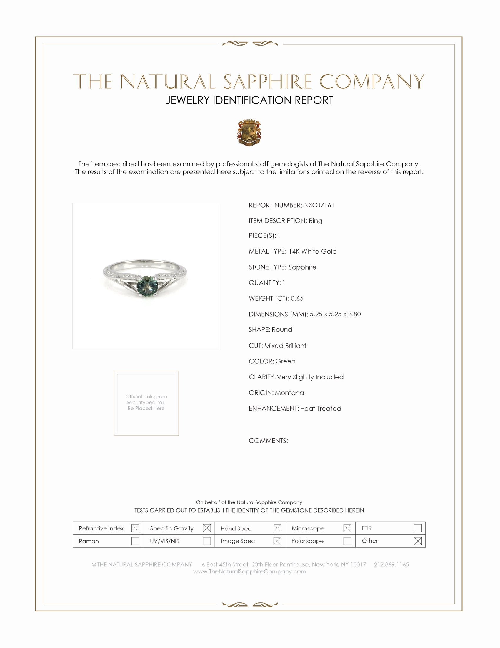 0.65ct Green Sapphire Ring Certification