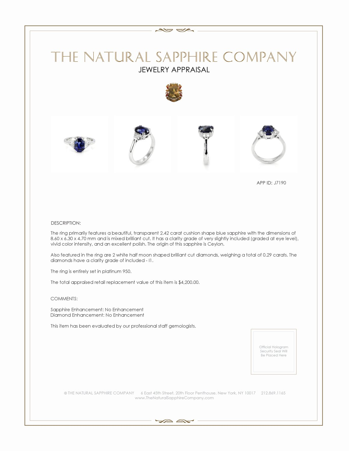 2.42ct Blue Sapphire Ring Certification 3
