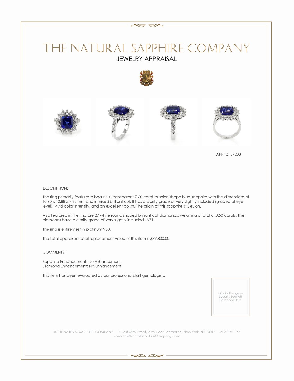 7.60ct Blue Sapphire Ring Certification