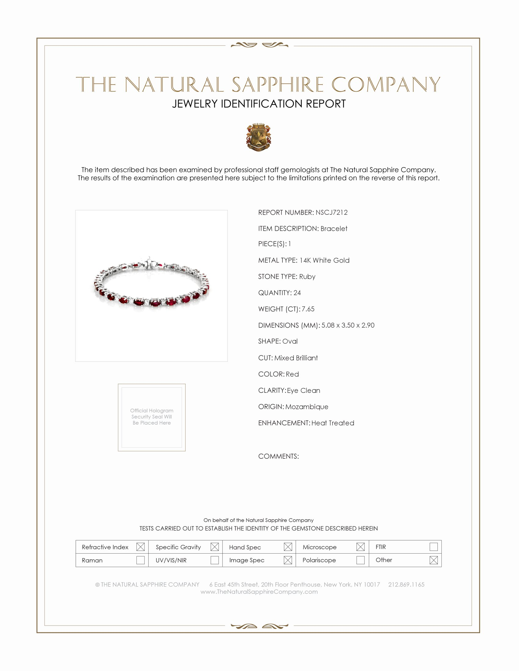7.65ct Ruby Bracelet Certification