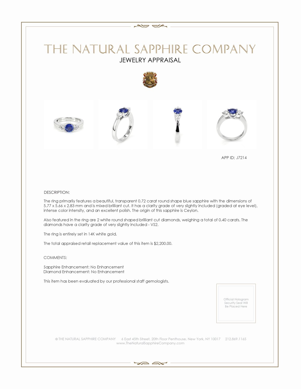 0.72ct Blue Sapphire Ring Certification 2