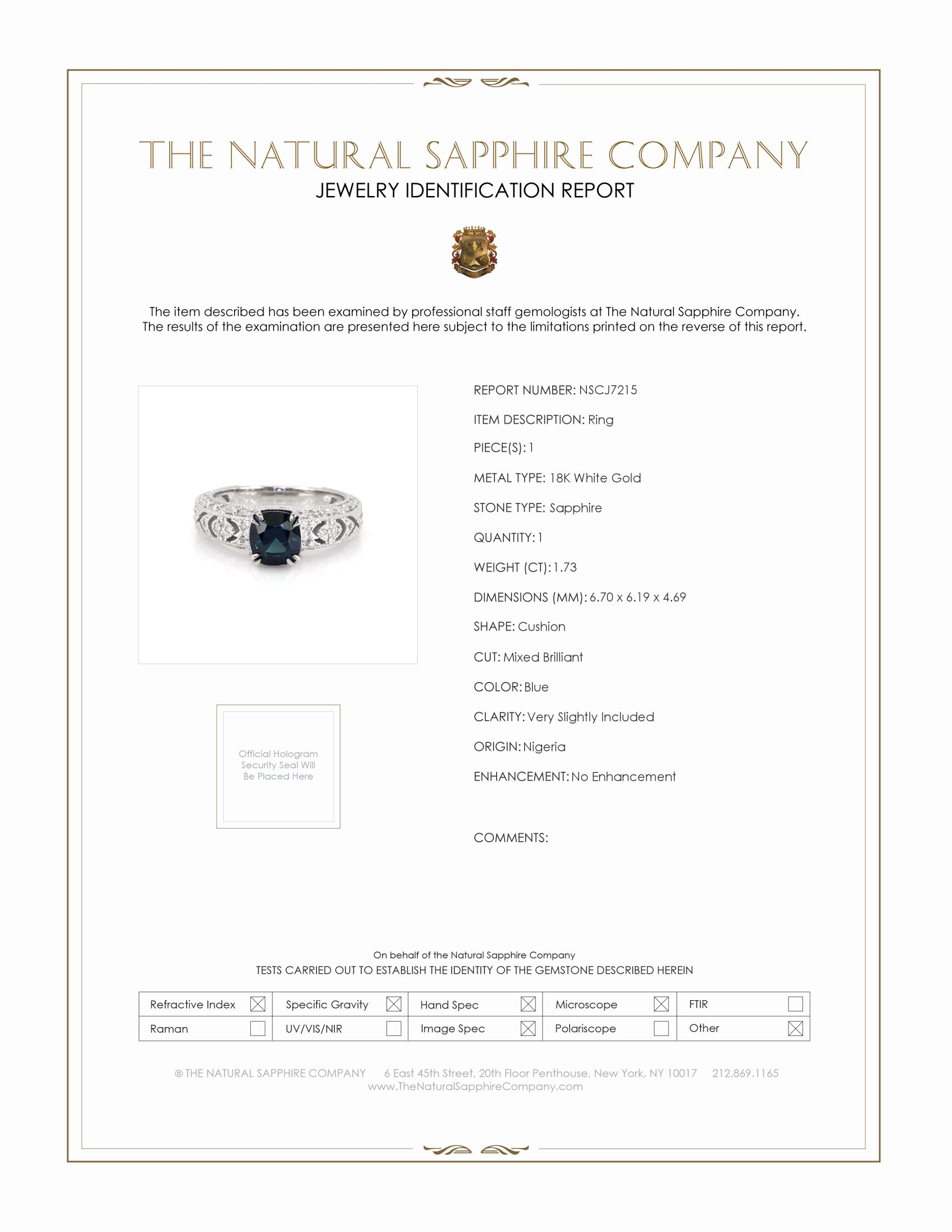1.73ct Blue Sapphire Ring Certification