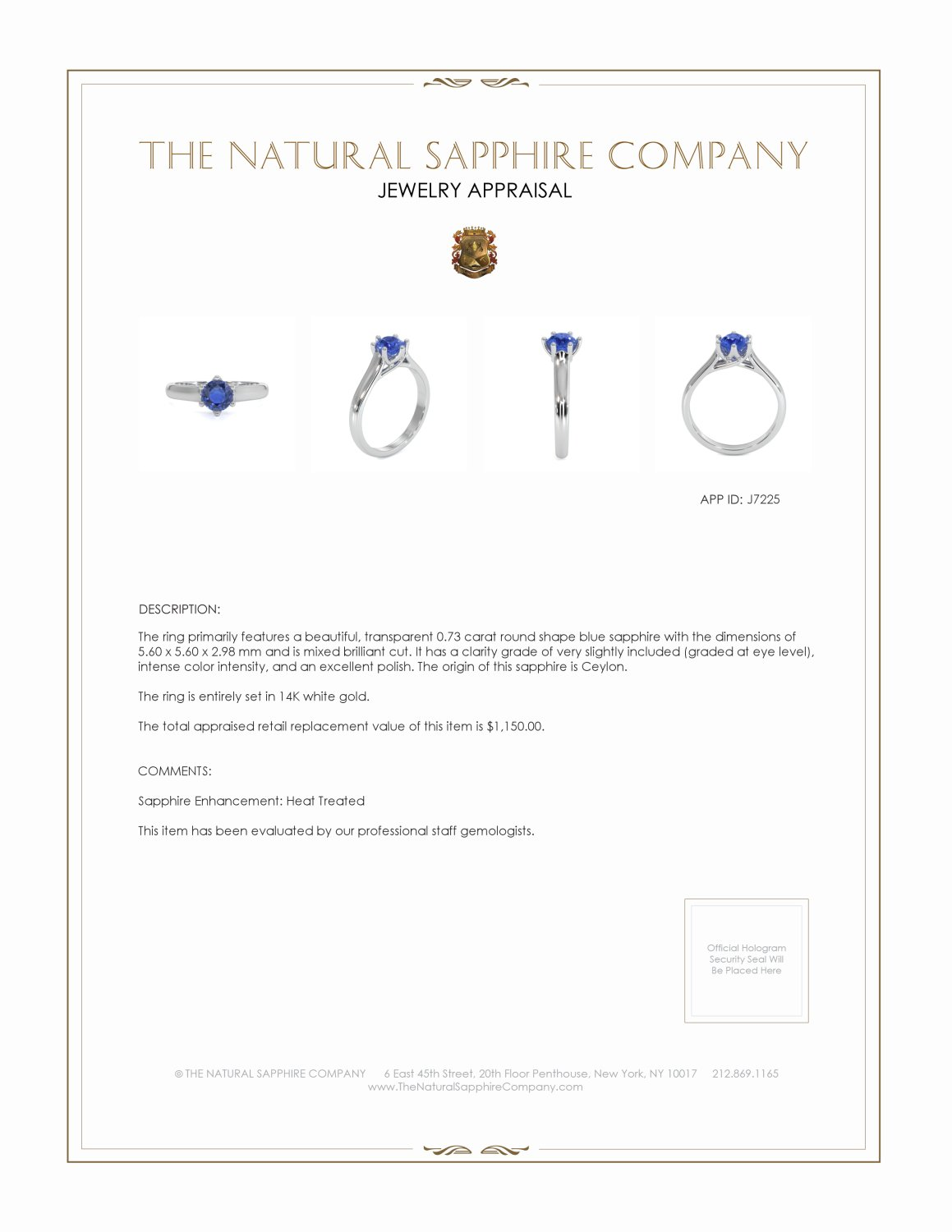 0.73ct Blue Sapphire Ring Certification 2