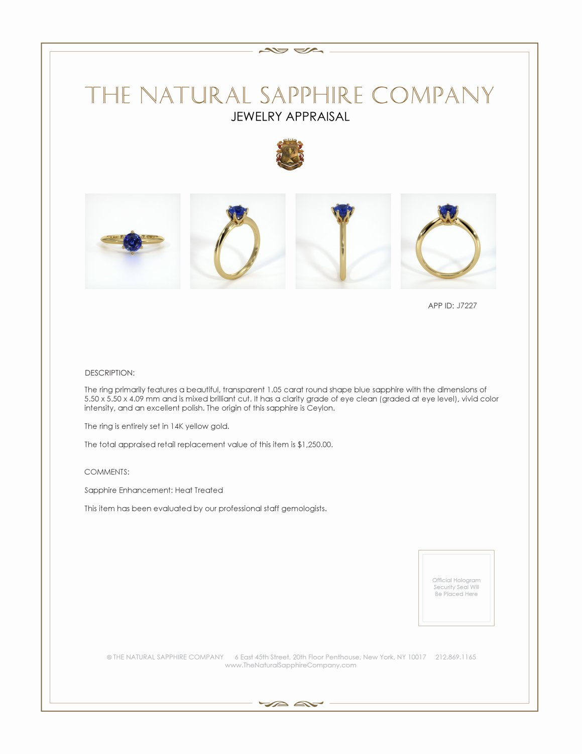 1.05ct Blue Sapphire Ring Certification 2