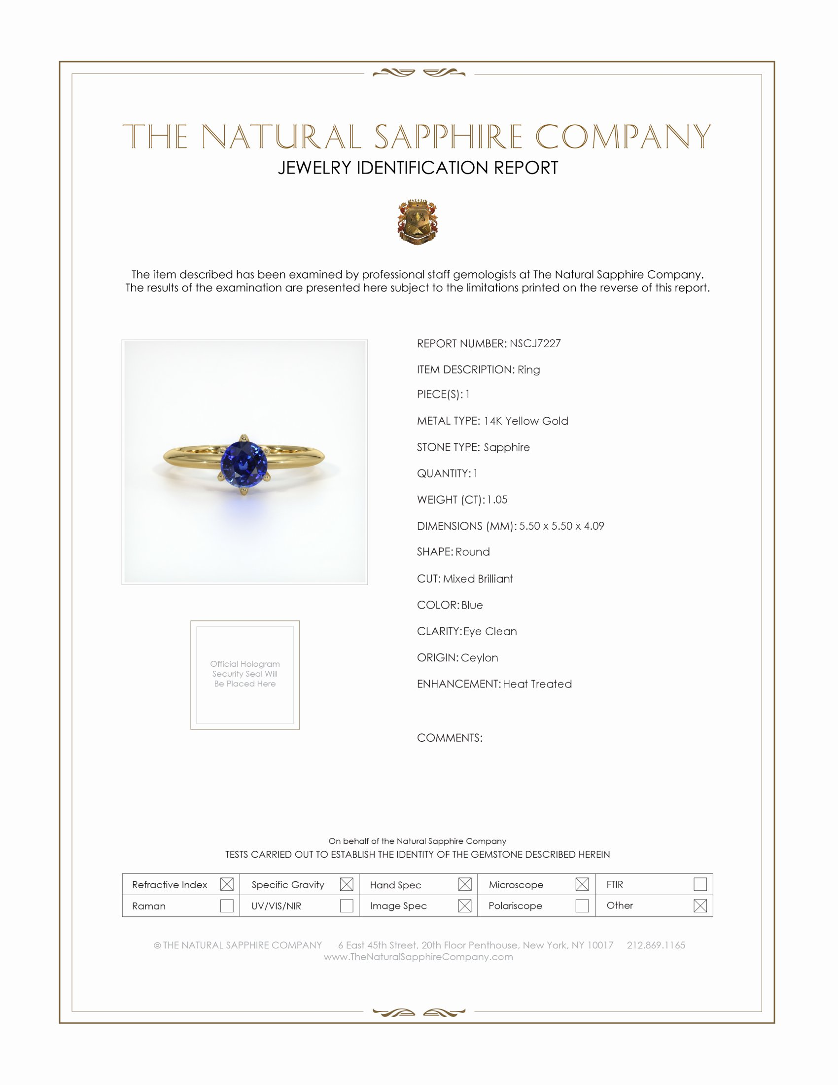 1.05ct Blue Sapphire Ring Certification