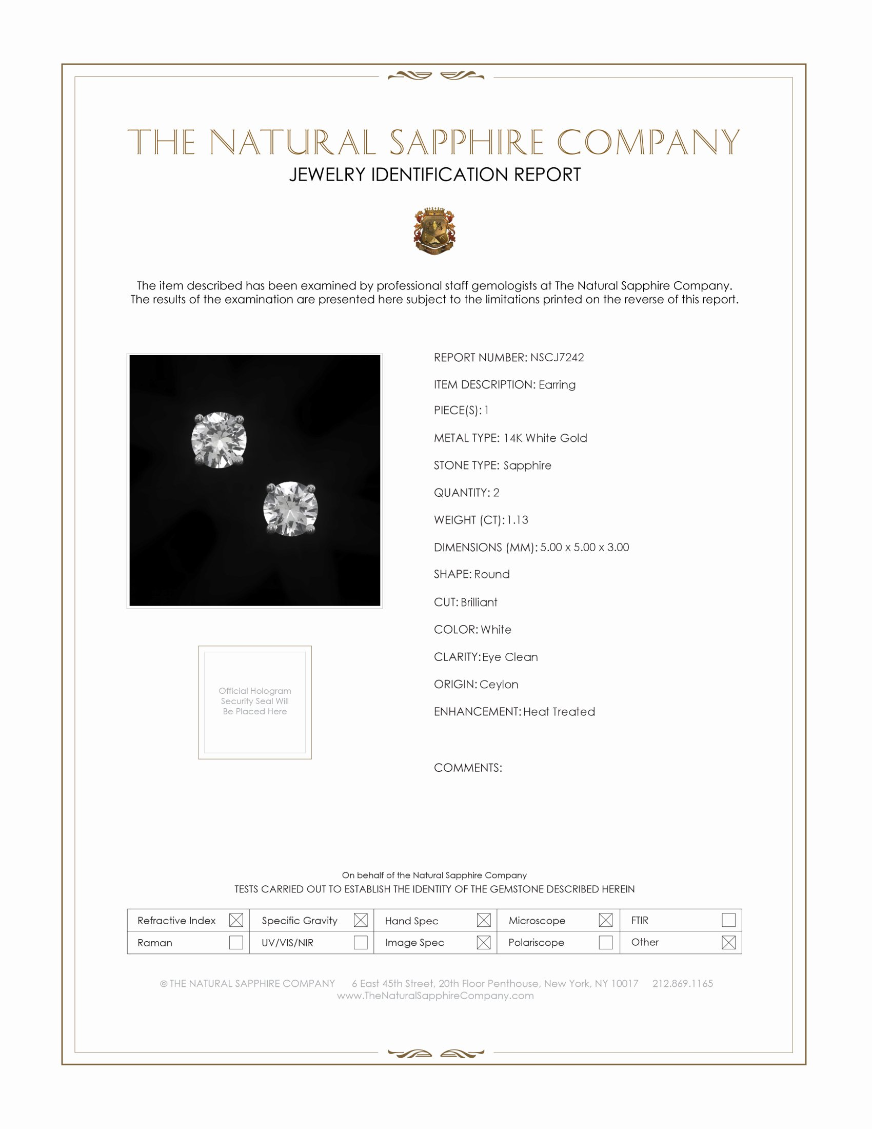 1.13ct White Sapphire Earring Certification