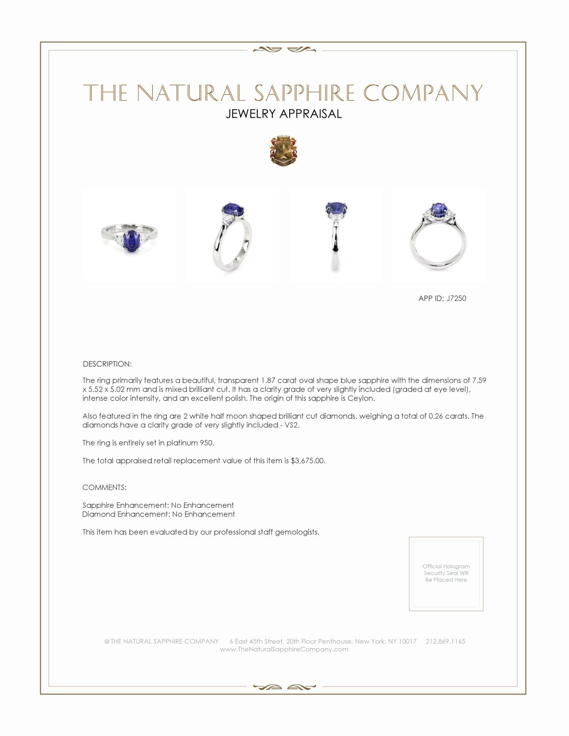 1.87ct Blue Sapphire Ring Certification 2