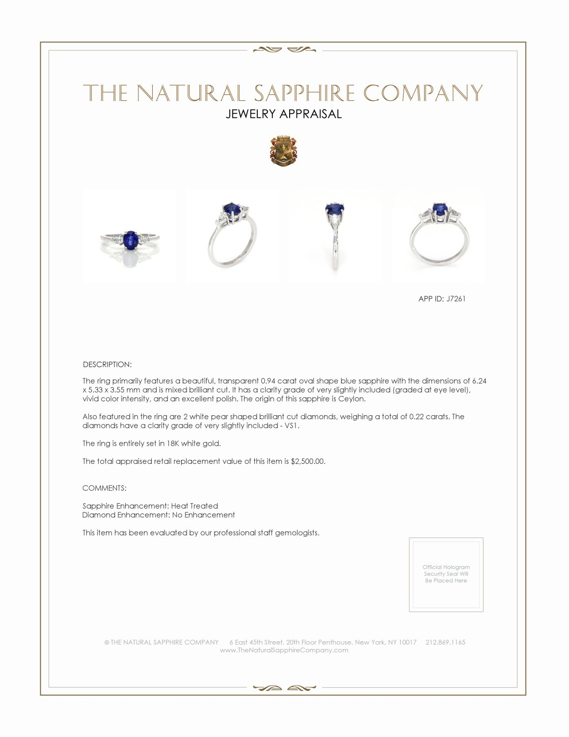 0.94ct Blue Sapphire Ring Certification