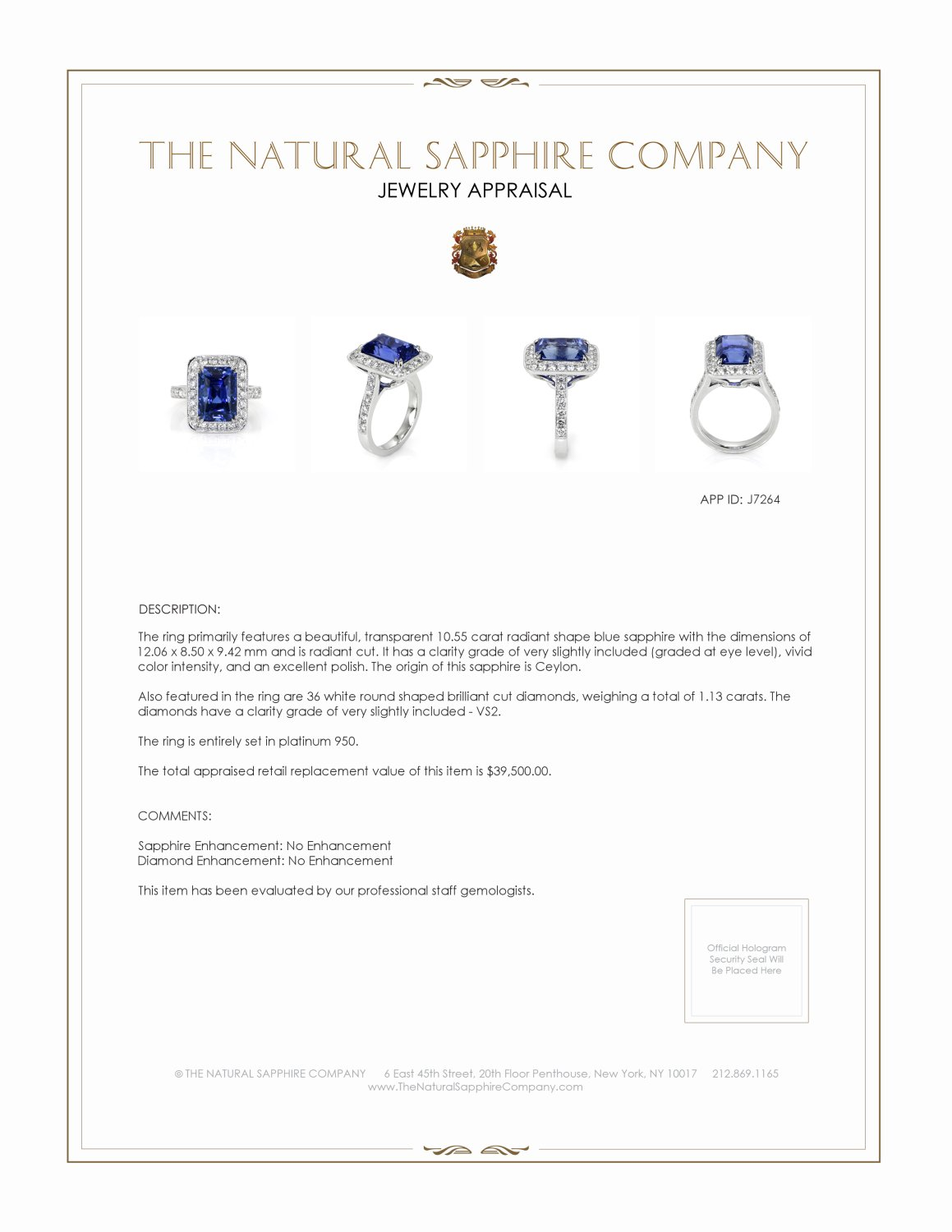 10.55ct Blue Sapphire Ring Certification 3