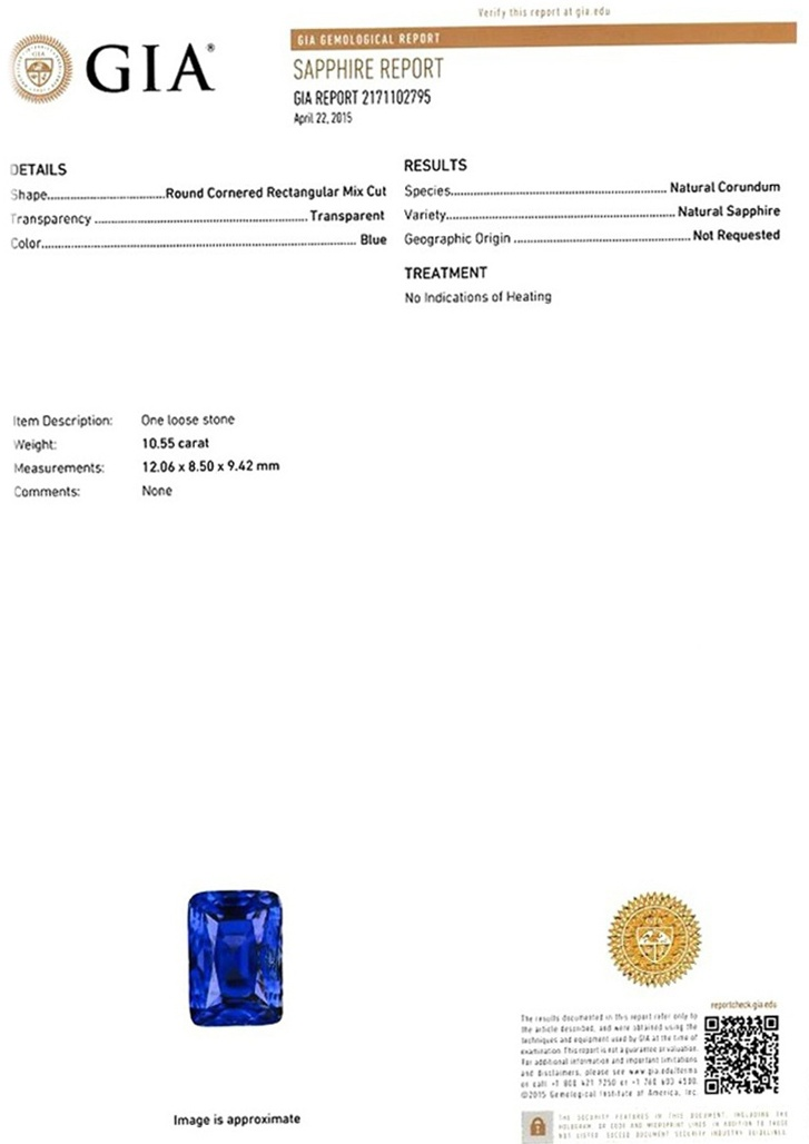10.55ct Blue Sapphire Ring Certification 2
