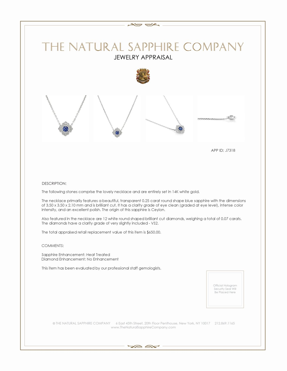 0.25ct Blue Sapphire Necklace Certification 2
