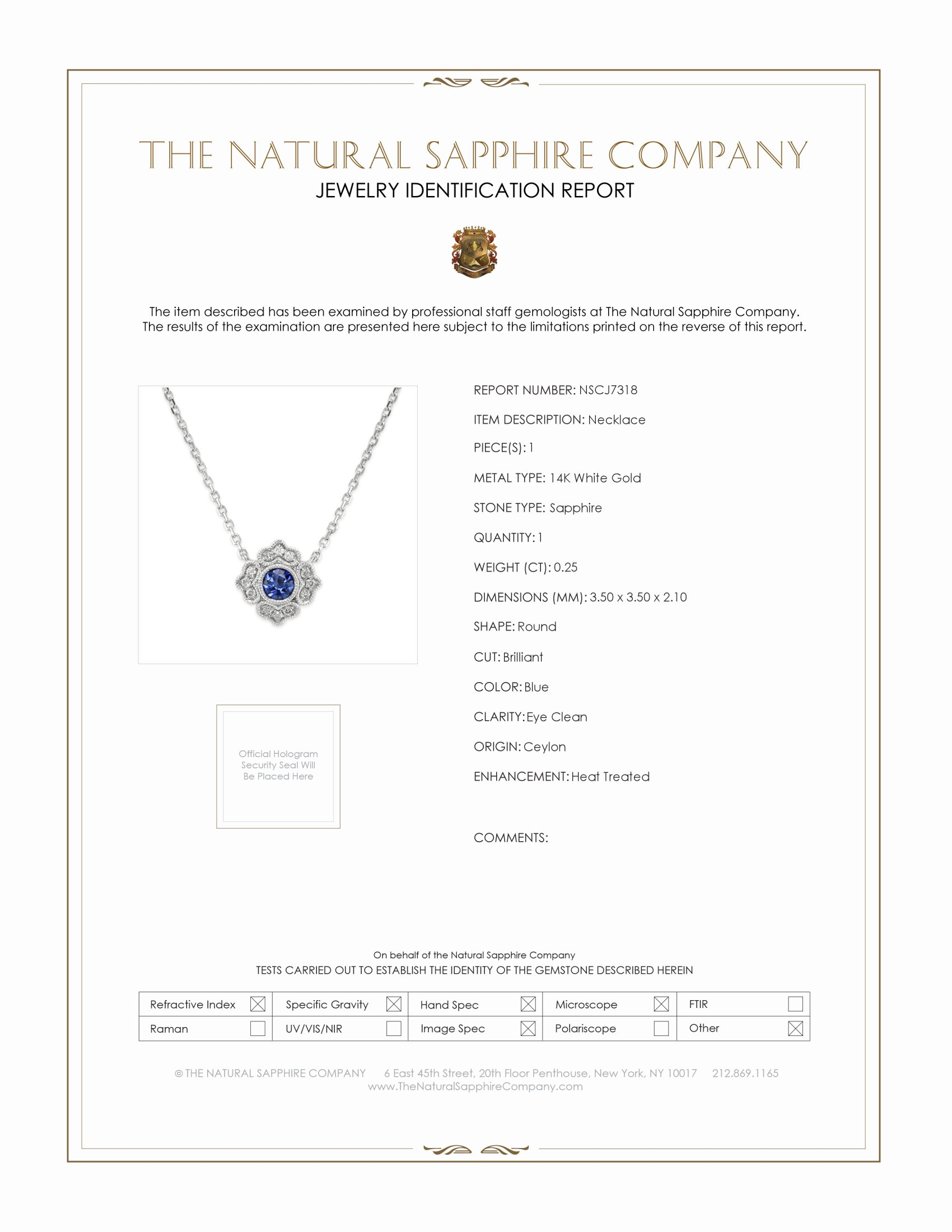 0.25ct Blue Sapphire Necklace Certification