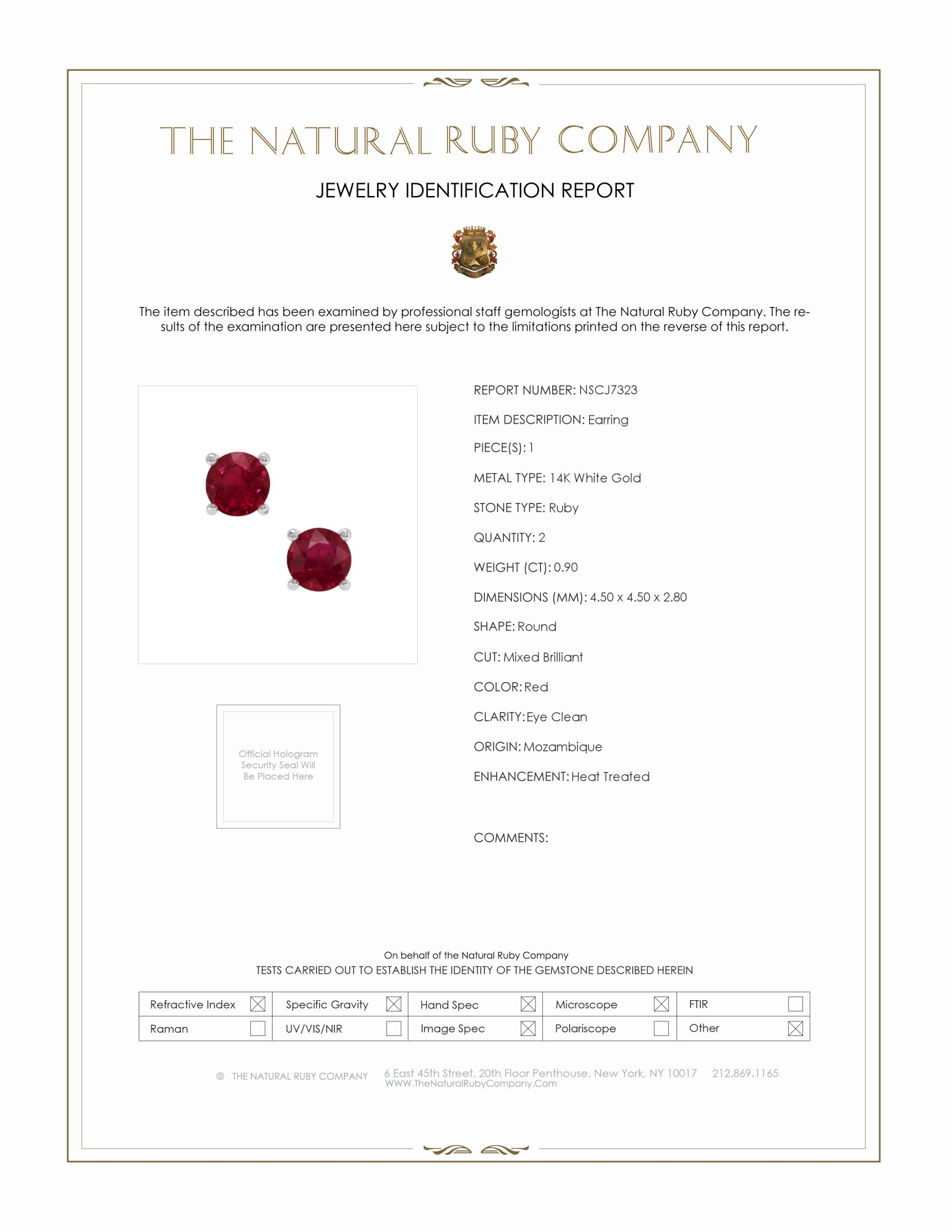 0.82ct Ruby Earring Certification