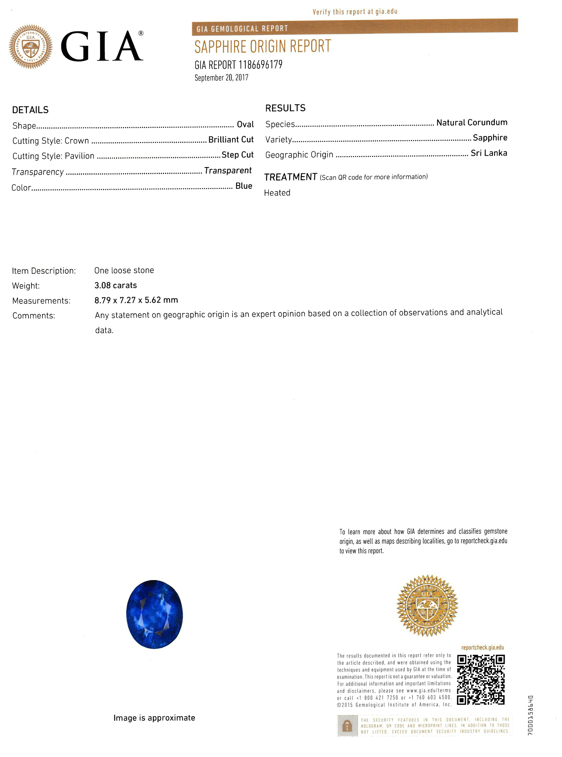 3.08ct Blue Sapphire Ring Certification 2