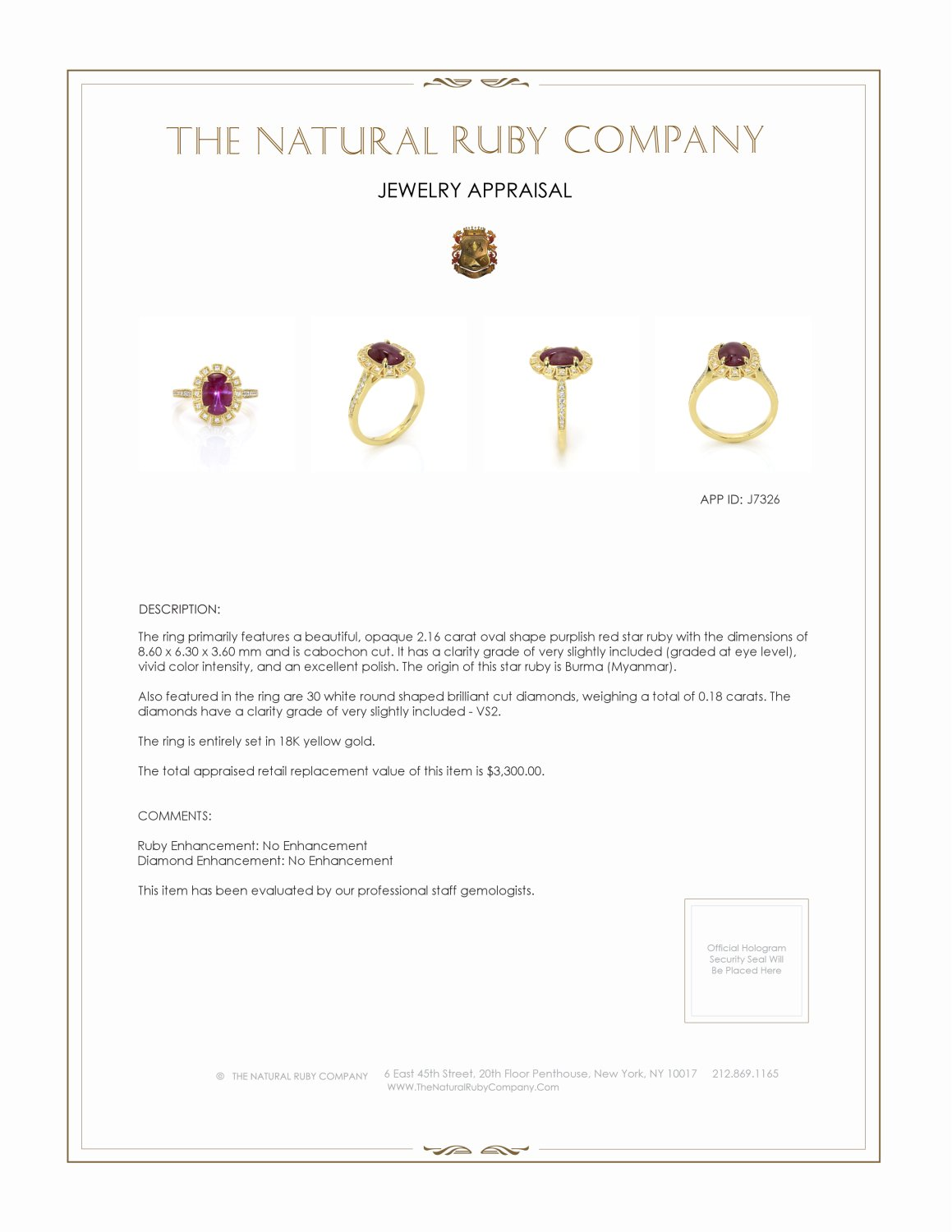2.16ct Ruby Ring Certification 2