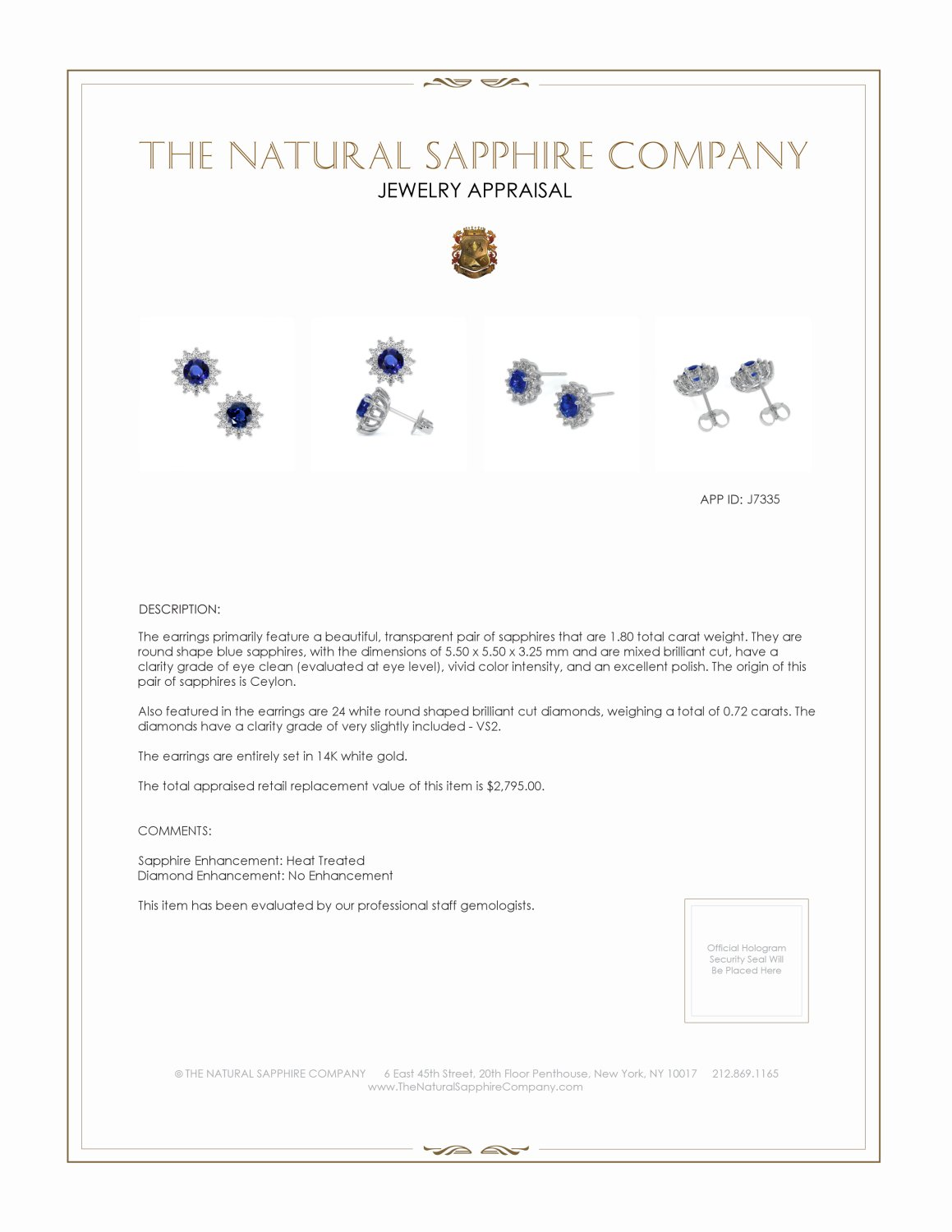 1.66ct Blue Sapphire Earring Certification 2