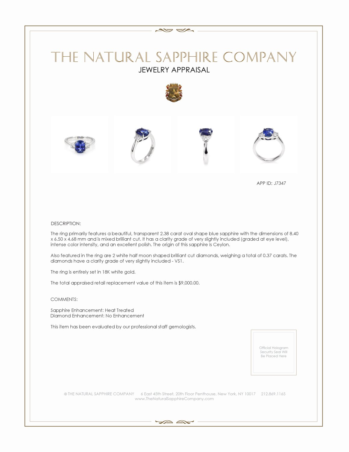 2.38ct Blue Sapphire Ring Certification 2