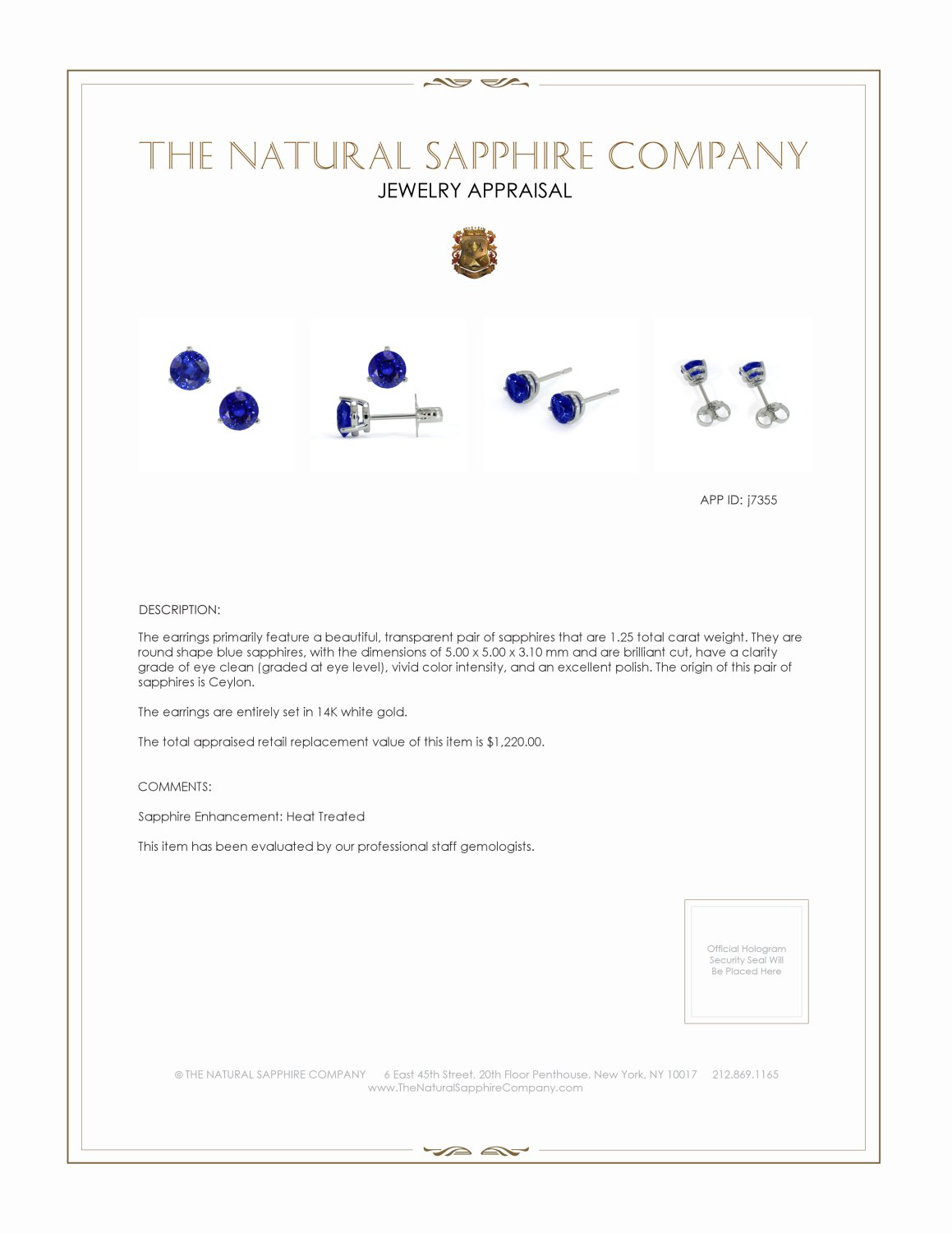 1.20ct Blue Sapphire Earring Certification 2