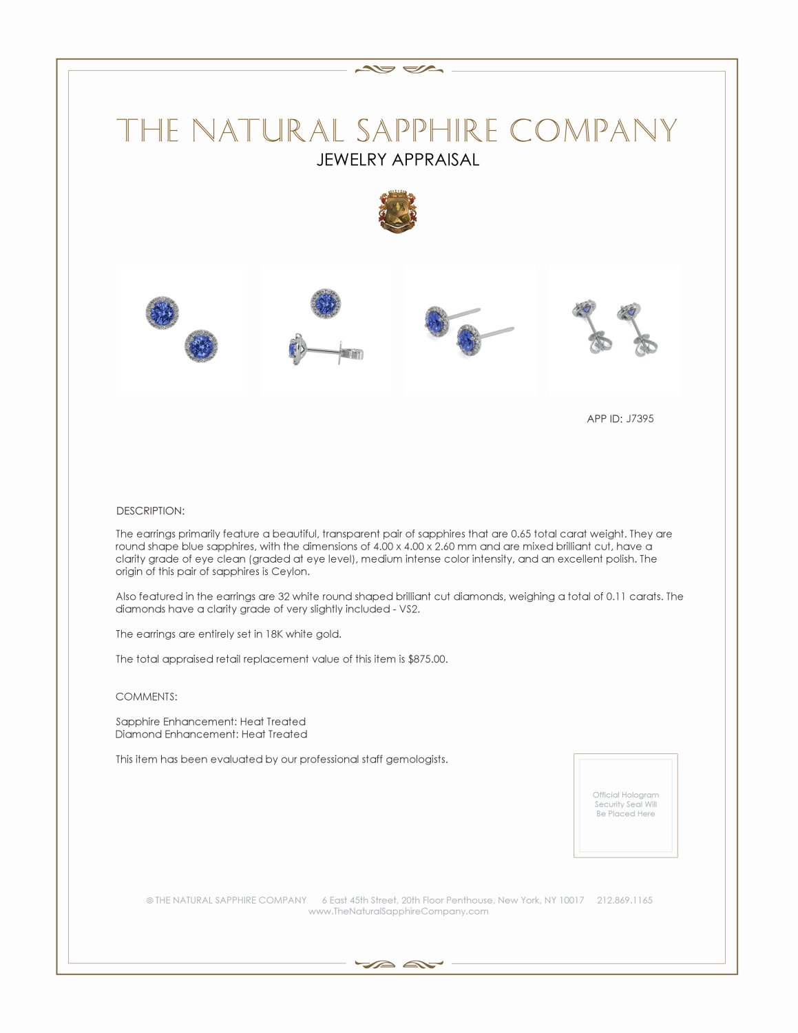 0.65ct Blue Sapphire Earring Certification 2