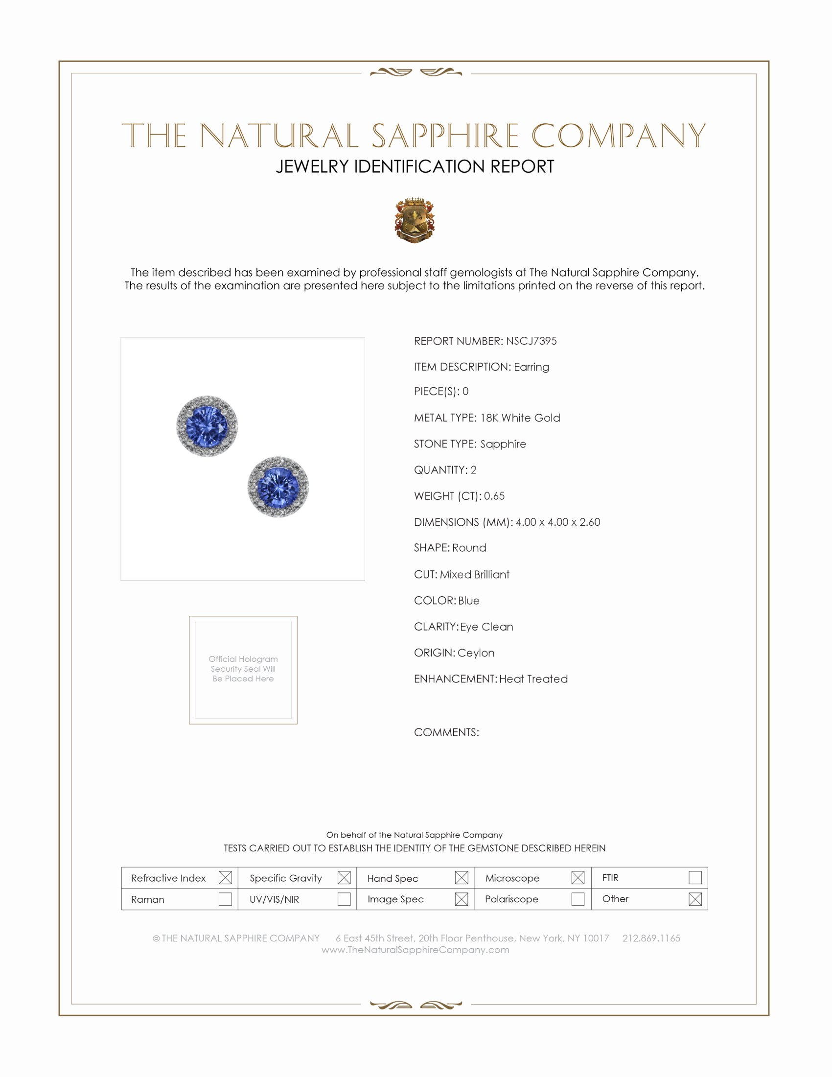 0.65ct Blue Sapphire Earring Certification