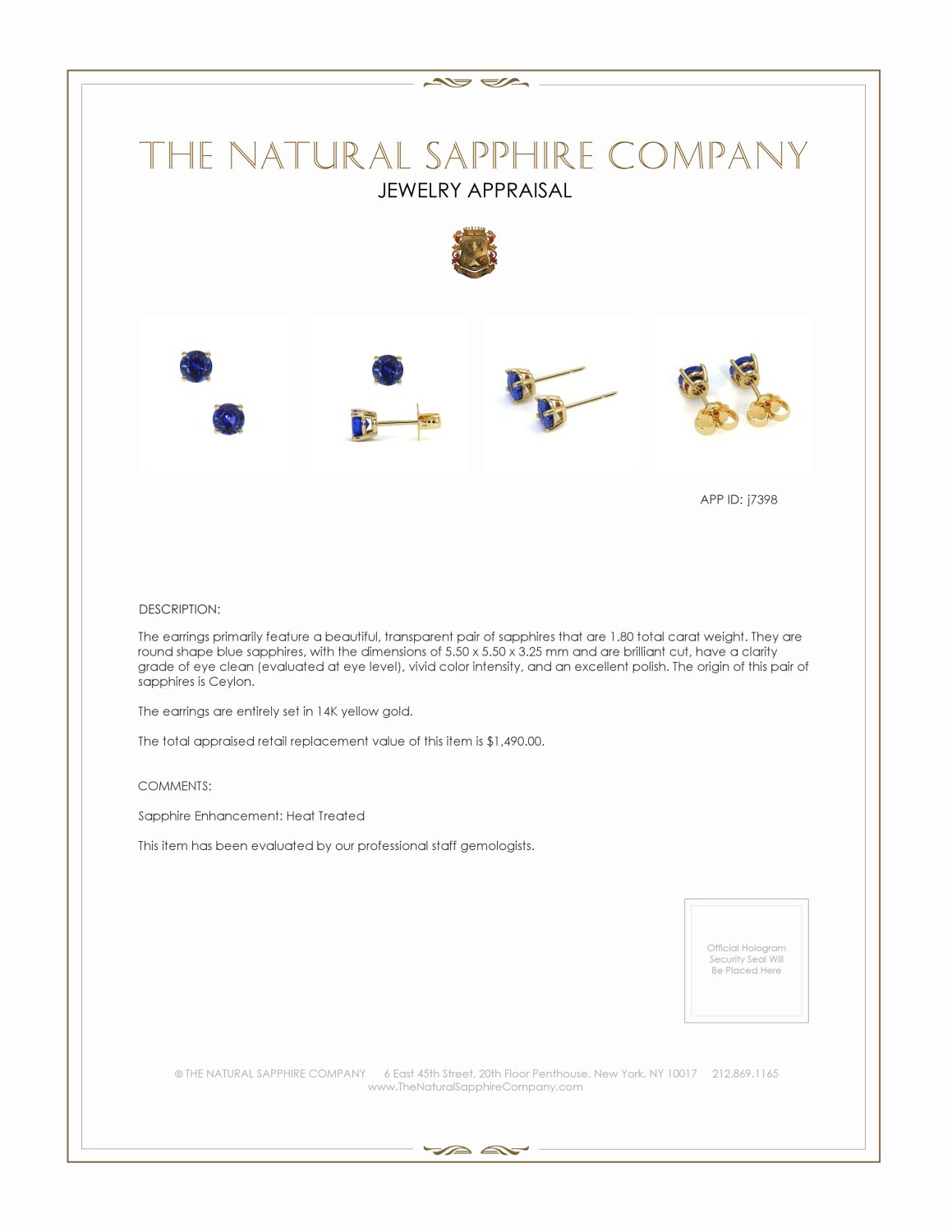 1.60ct Blue Sapphire Earring Certification 2