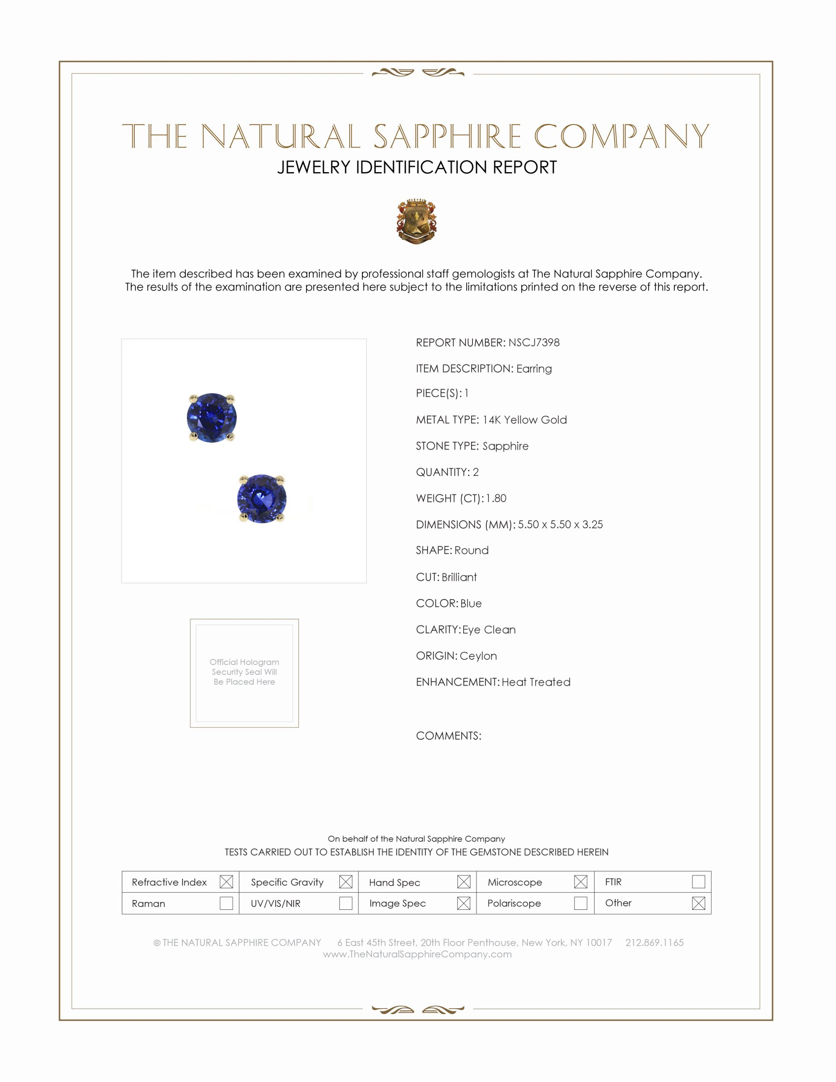 1.60ct Blue Sapphire Earring Certification