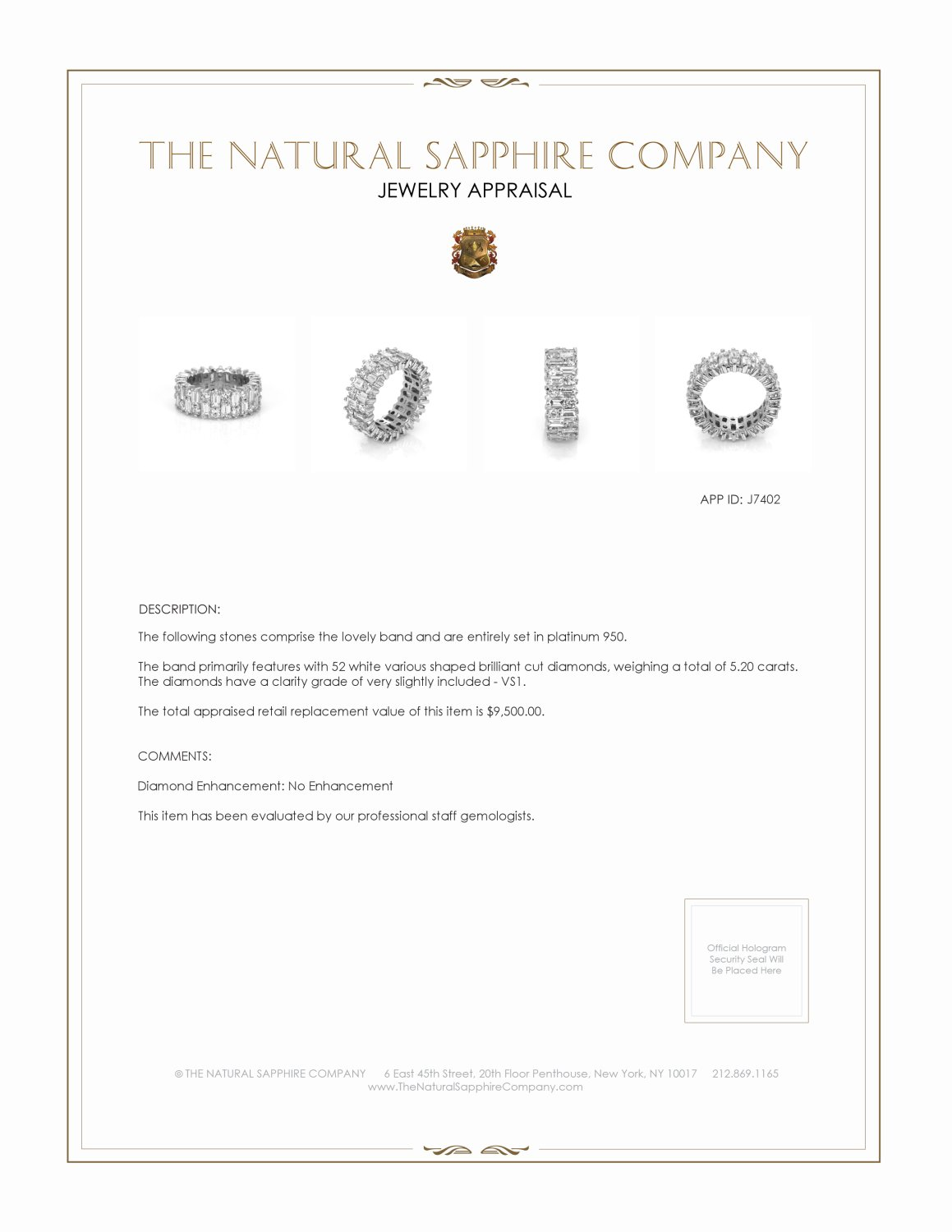 5.20ct White Diamond Band Certification 2