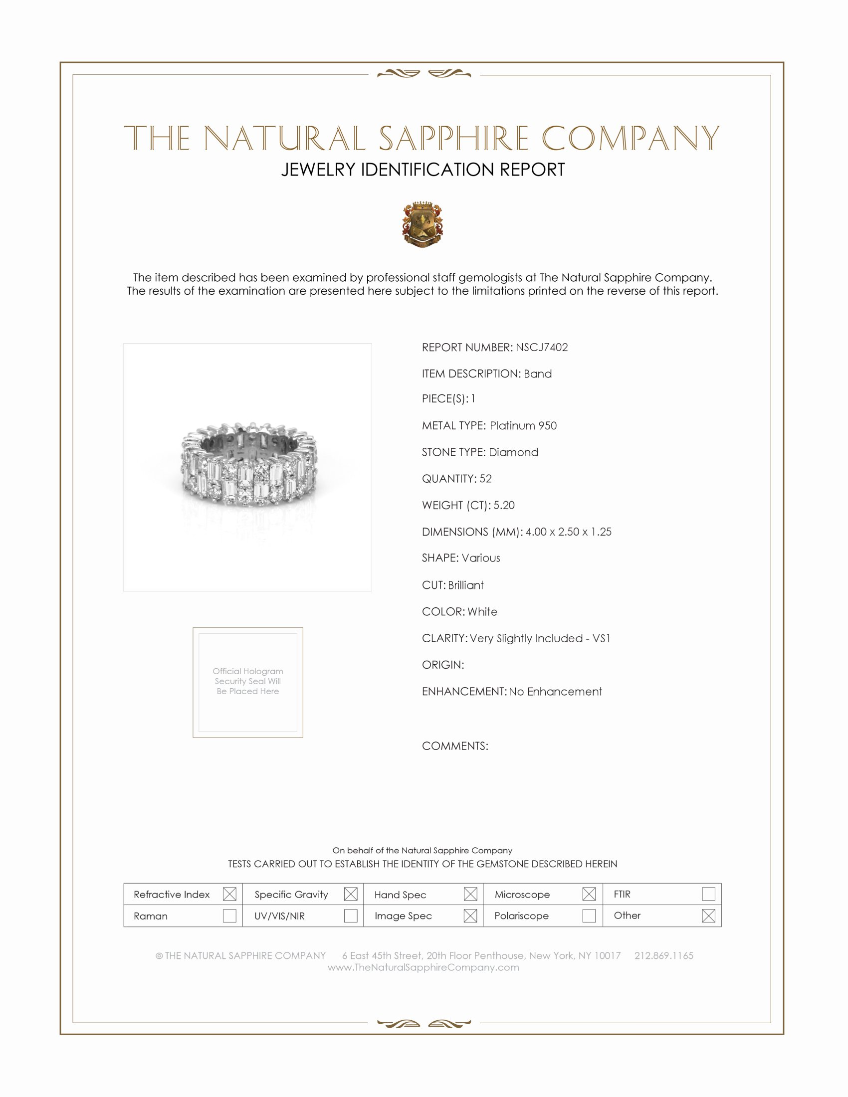 5.20ct White Diamond Band Certification