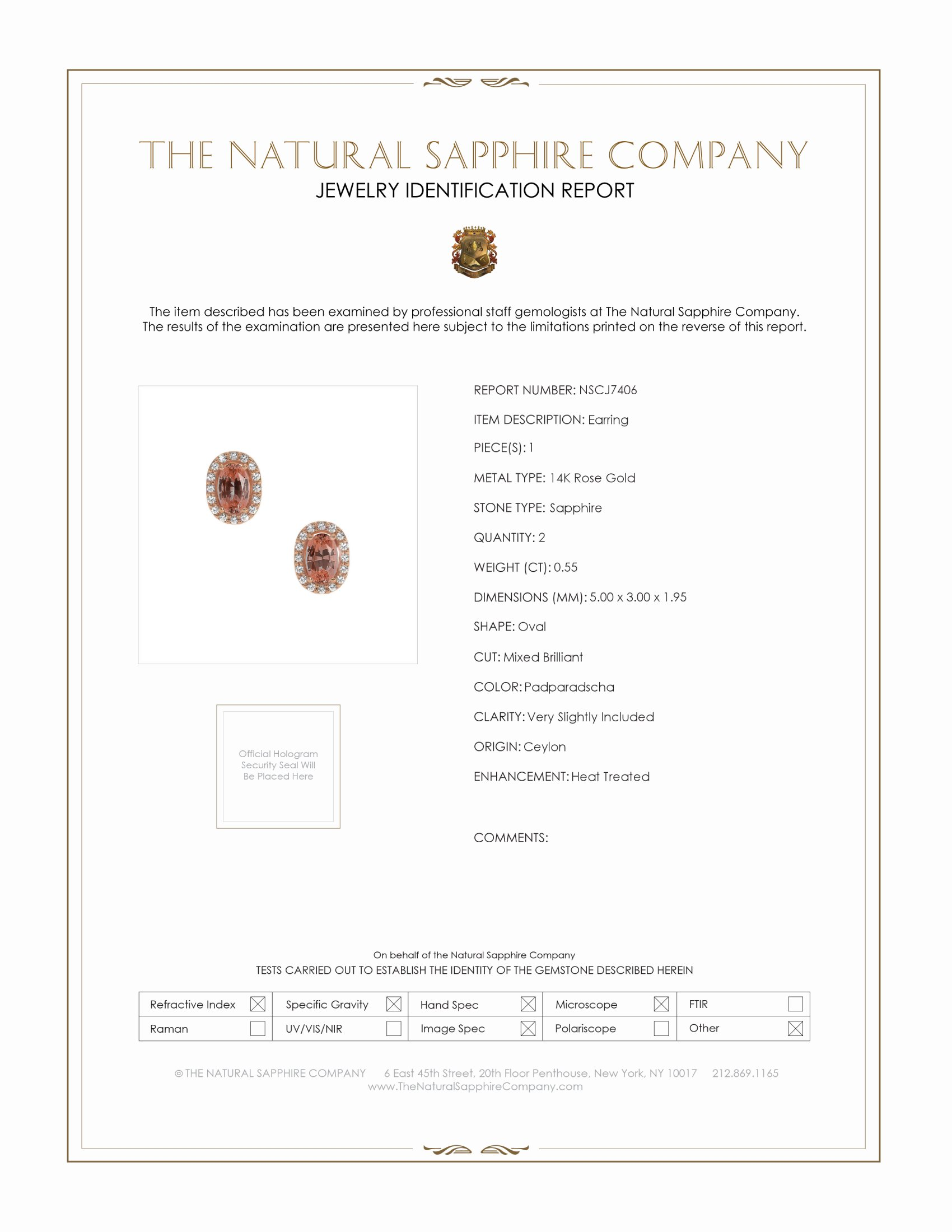 0.55ct Padparadscha Sapphire Earring Certification
